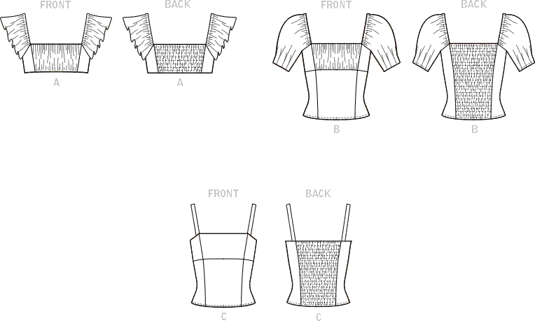 McCall's Pattern M8200 Misses and Womens Tops 8200 Line Art From Patternsandplains.com