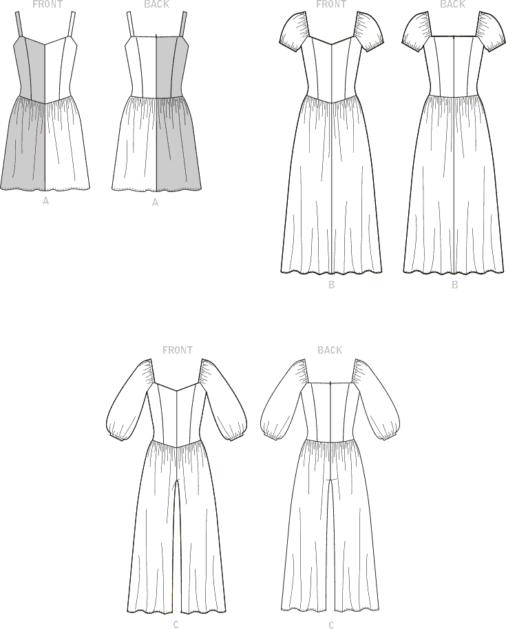 McCall's Pattern M8209 Misses and Womens Dresses and Jumpsuit 8209 Line Art From Patternsandplains.com