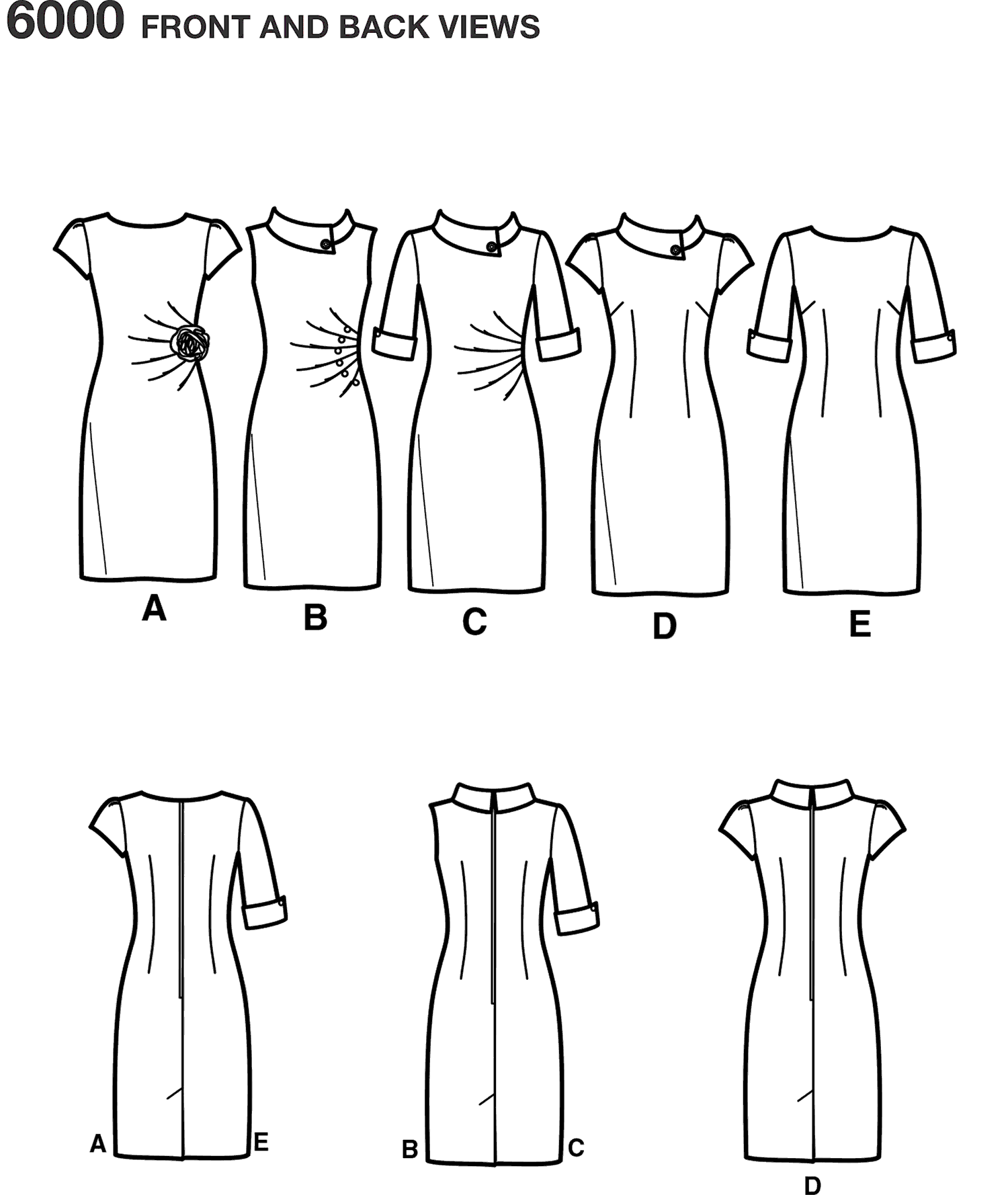 New Look Pattern 6000 Misses Dresses Line Art From Patternsandplains.com