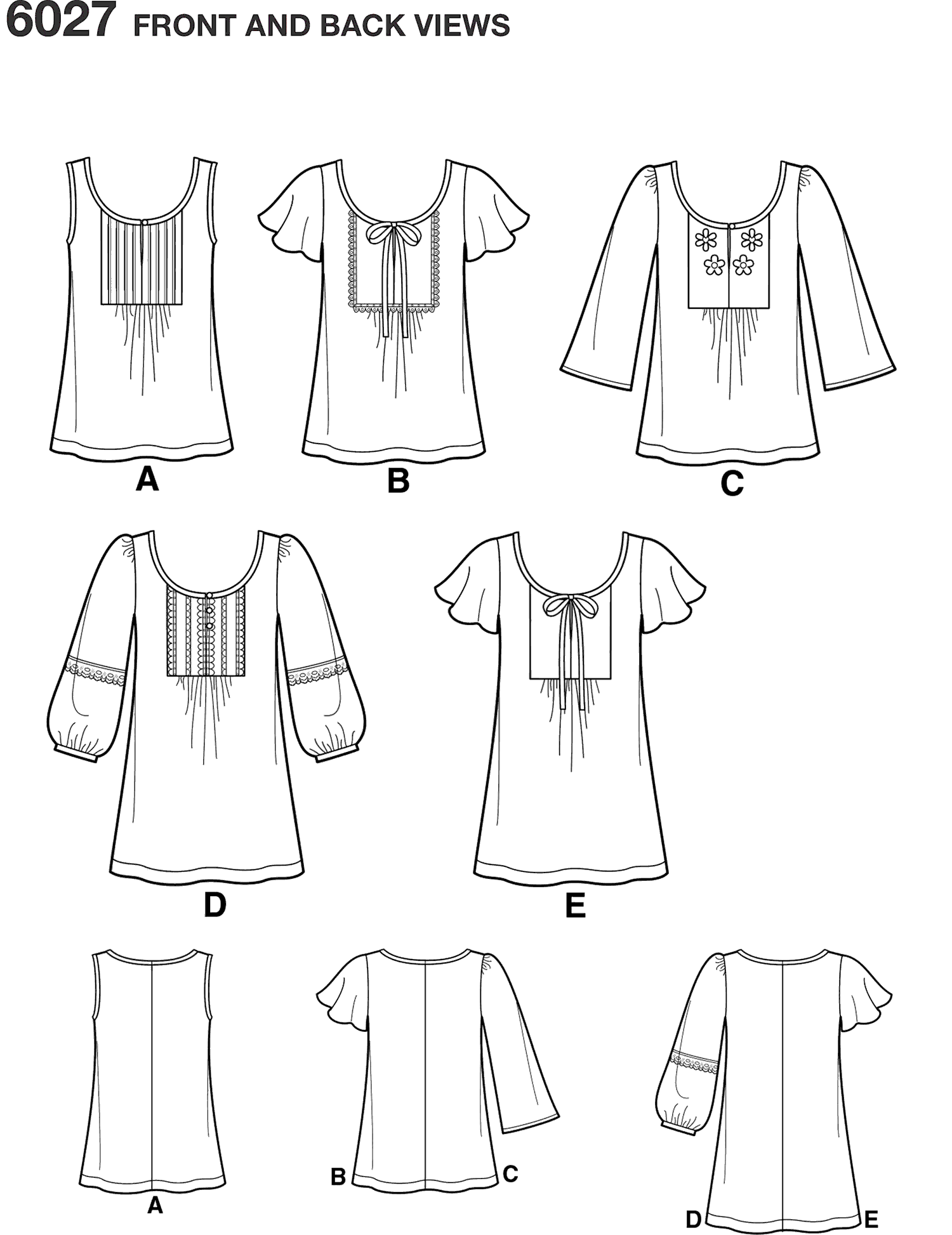 New Look Pattern 6027 Misses Tunic or Tops Line Art From Patternsandplains.com