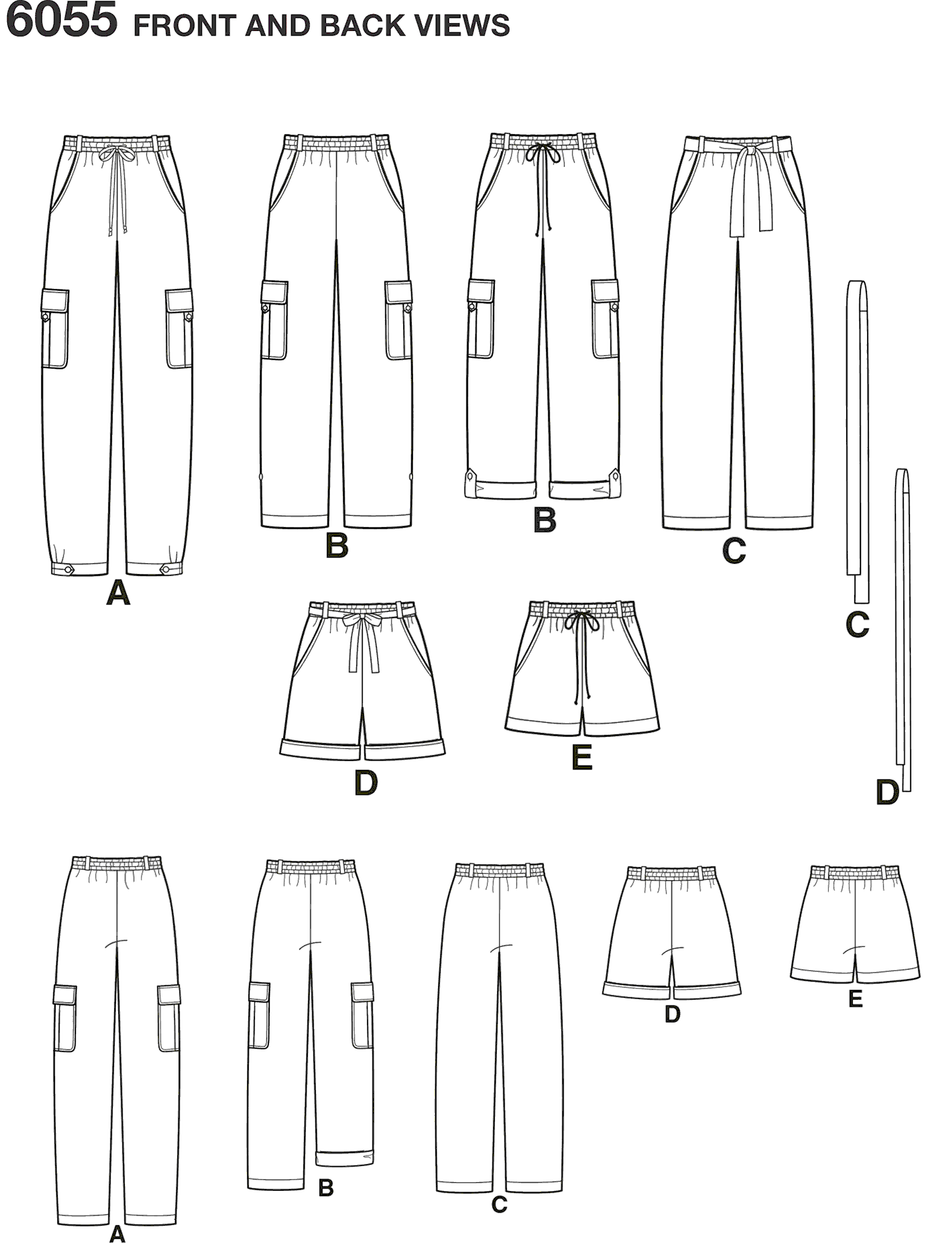 New Look Pattern 6055 Misses Pants and Shorts Line Art From Patternsandplains.com