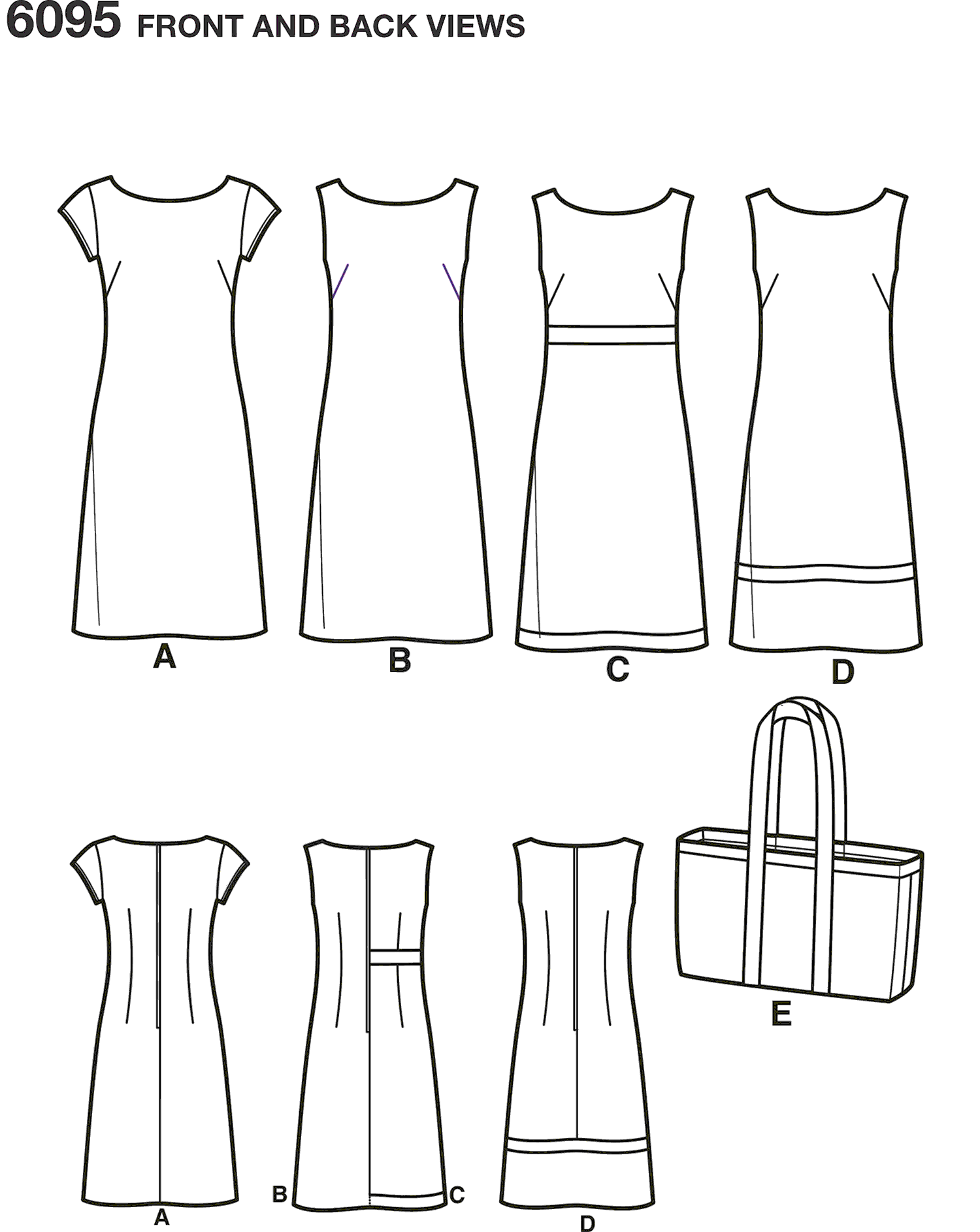 New Look Pattern 6095 Misses Dresses Line Art From Patternsandplains.com