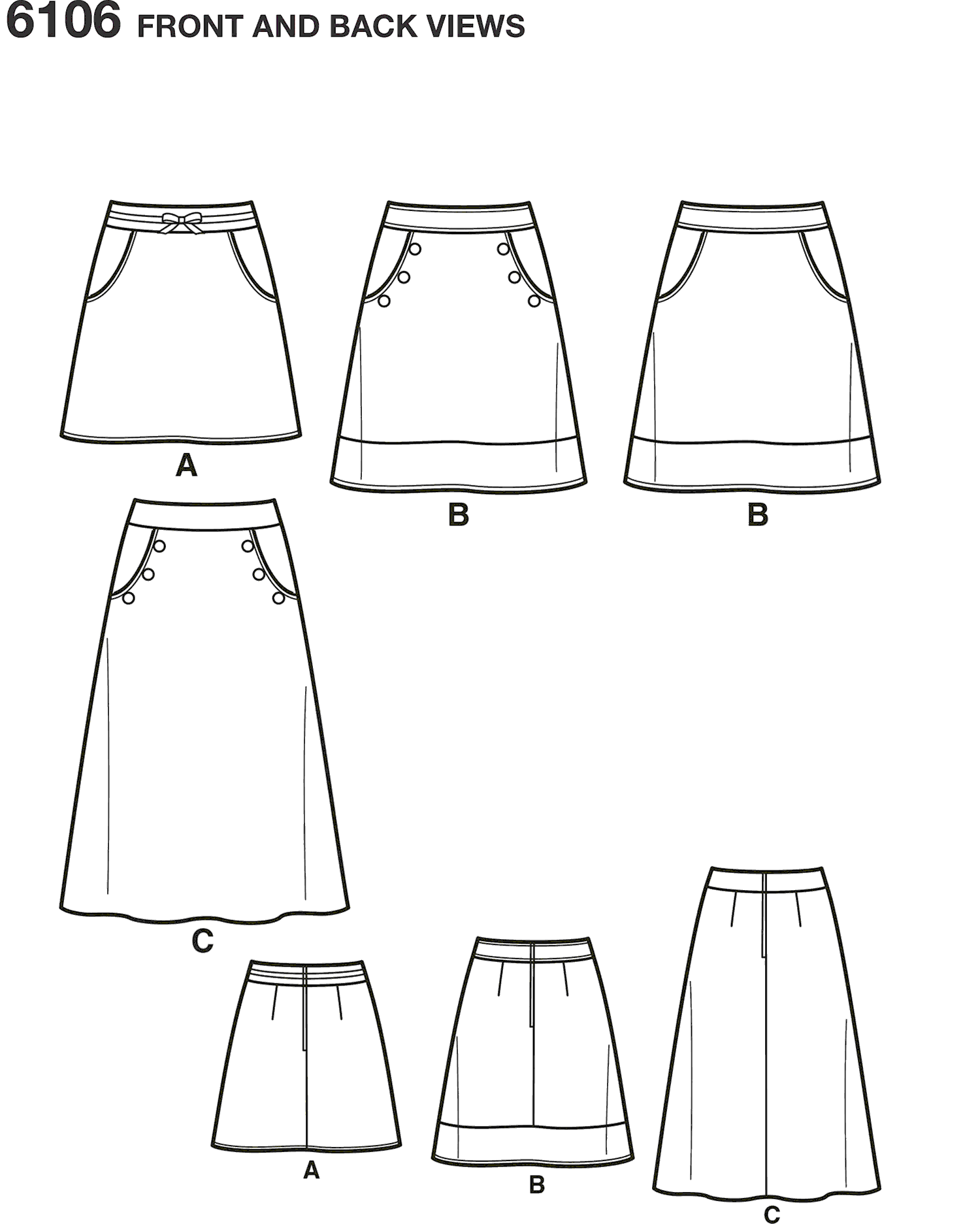 New Look Pattern 6106 Misses Skirts Line Art From Patternsandplains.com