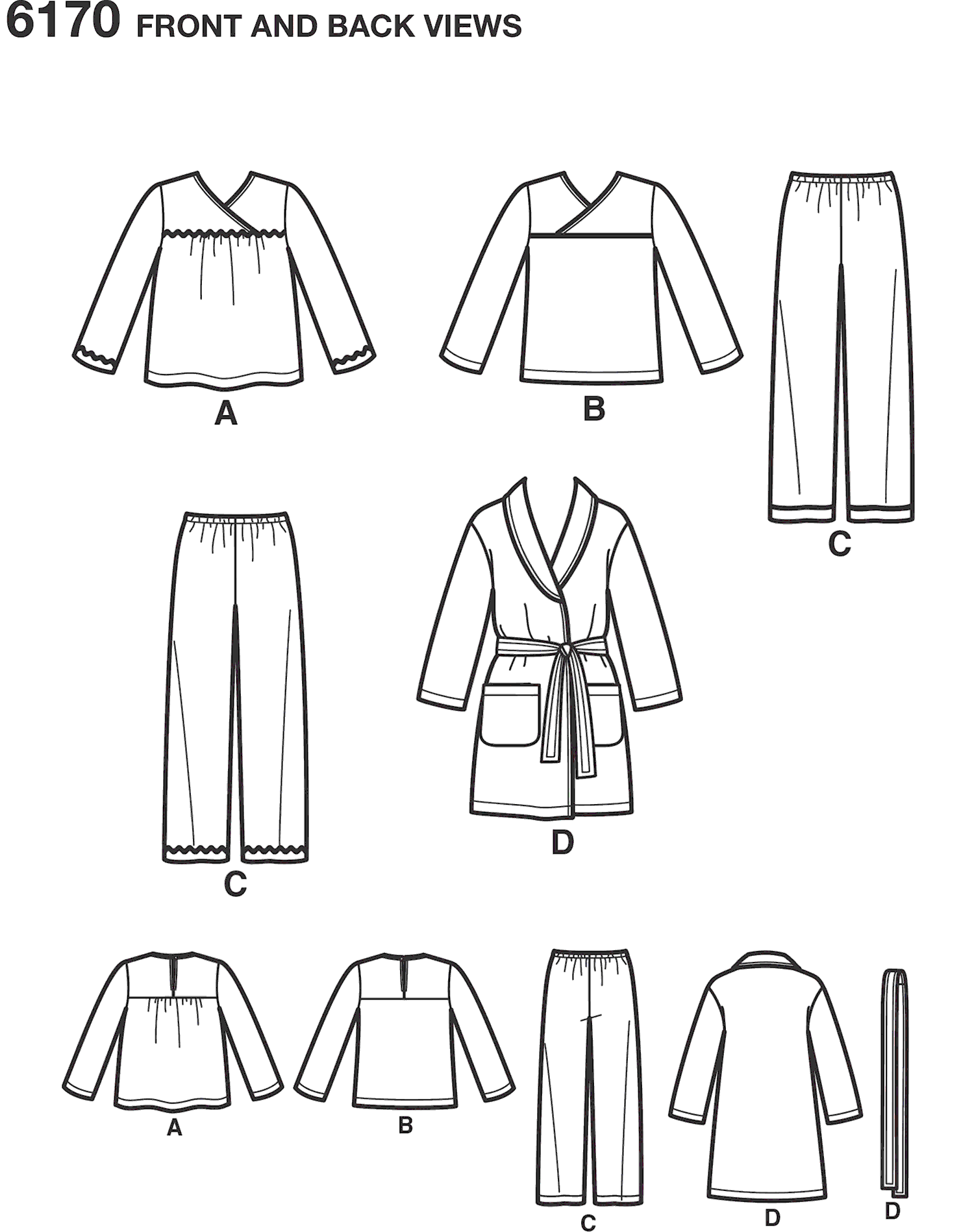 New Look Pattern 6170 Toddlers and Childs Pajamas Line Art From Patternsandplains.com