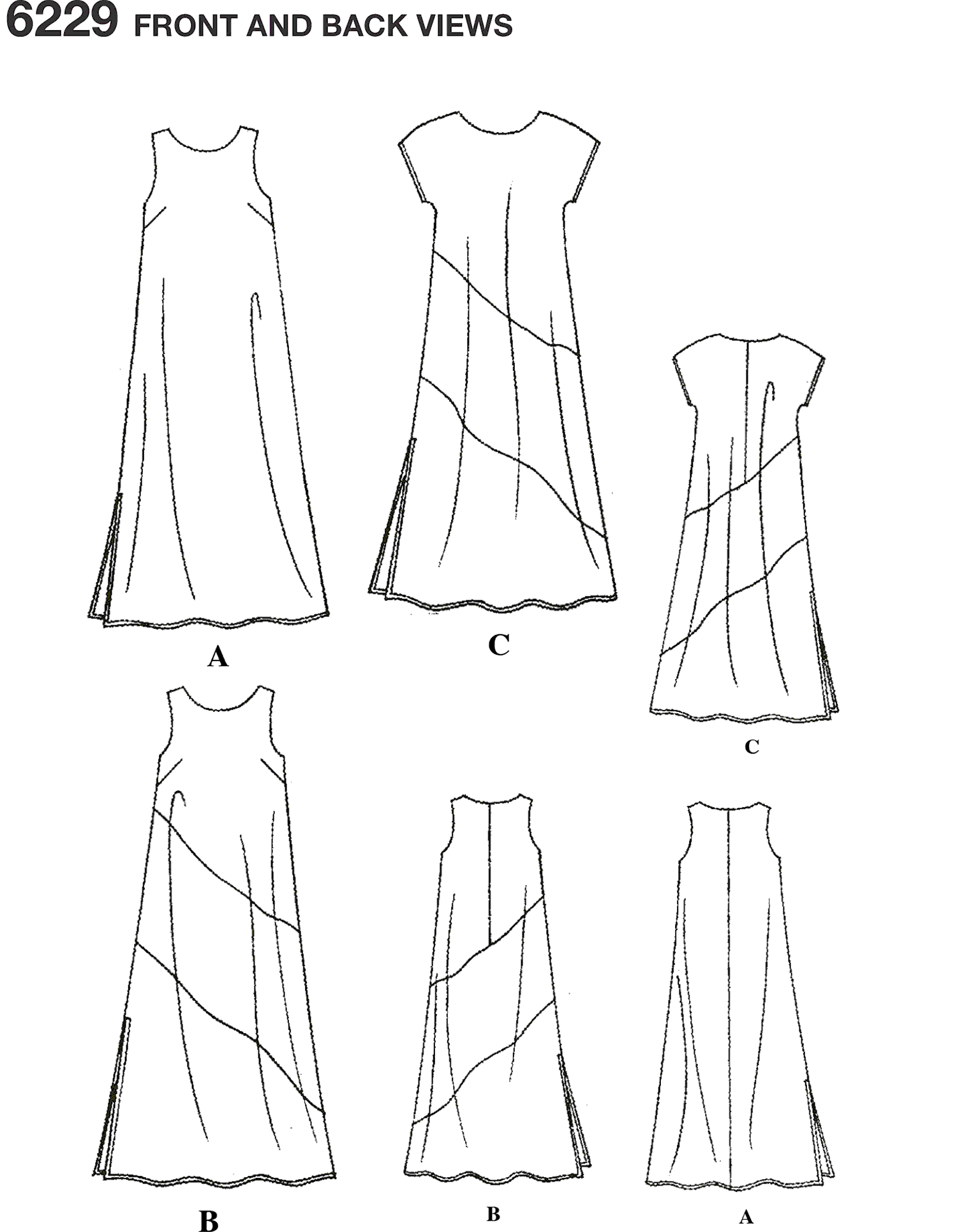 New Look Pattern 6229 Misses Dresses Line Art From Patternsandplains.com