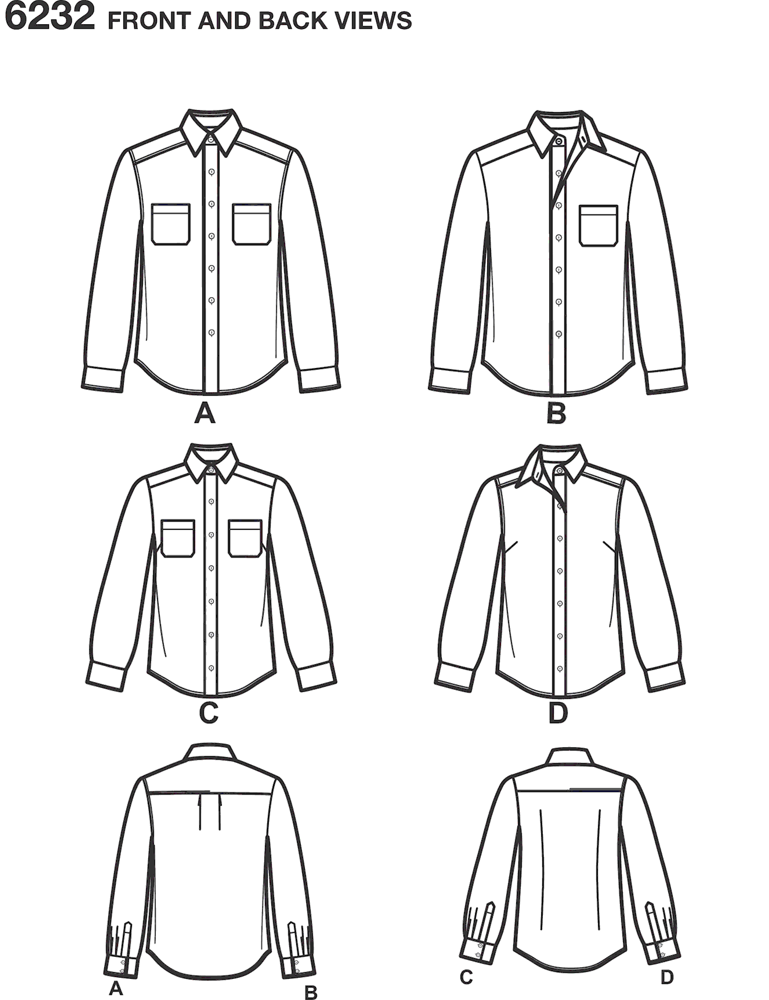 New Look Pattern 6232 Misses and Mens Button Down Shirt Line Art From Patternsandplains.com