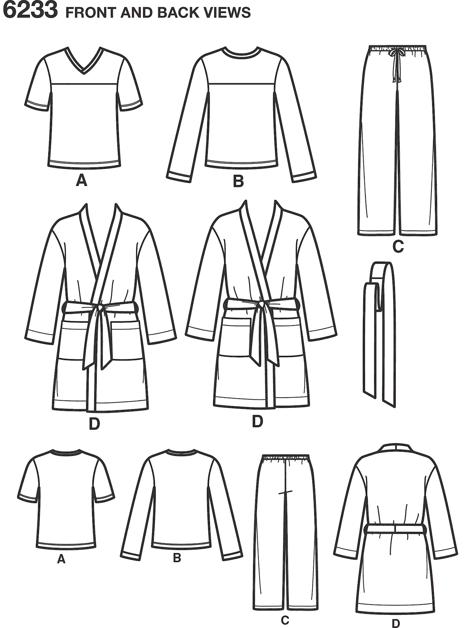 New Look Pattern 6233 Unisex Pants Robe and Knit Tops Line Art From Patternsandplains.com