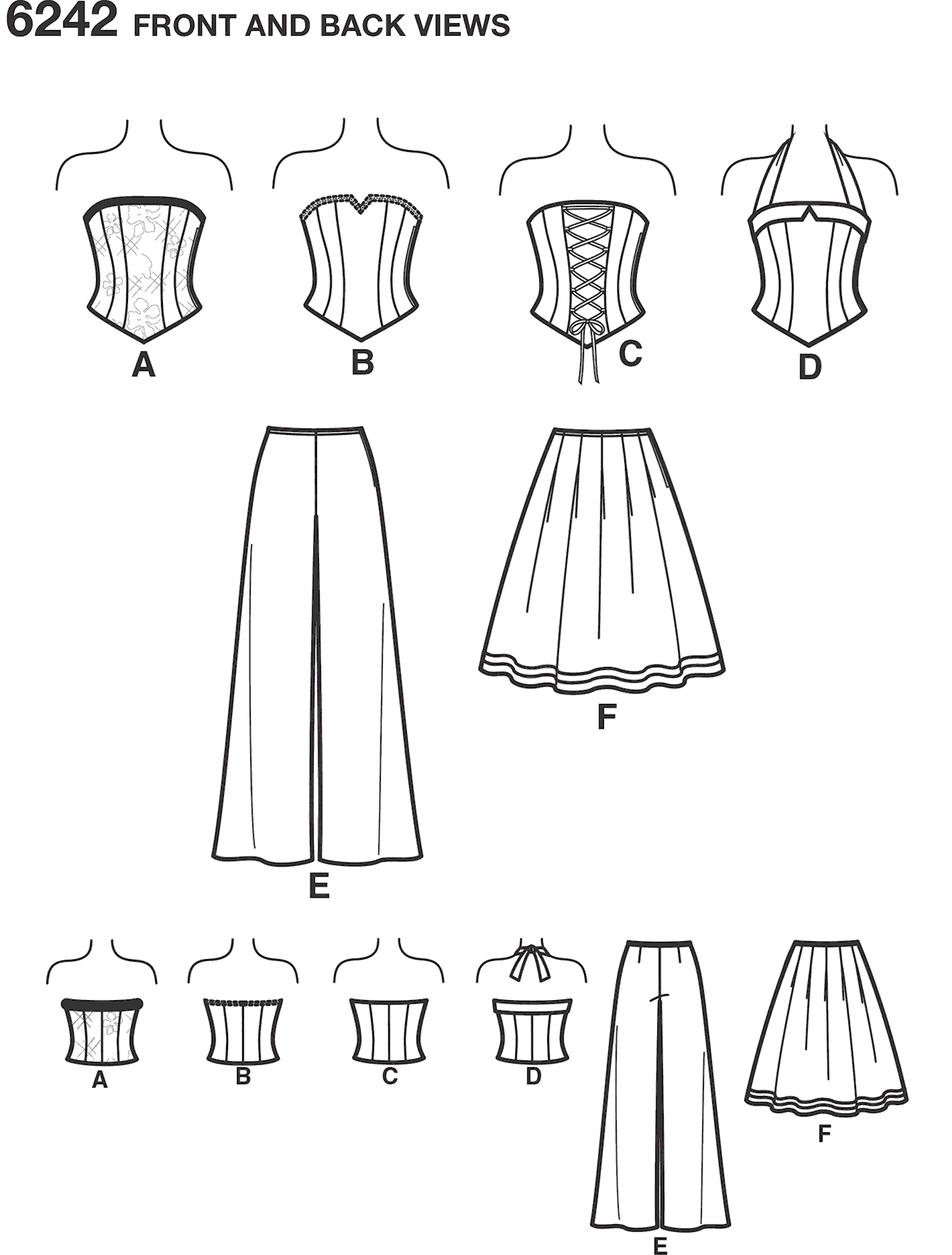 New Look Pattern 6242 Misses Corset Top Pants and Skirt Line Art From Patternsandplains.com