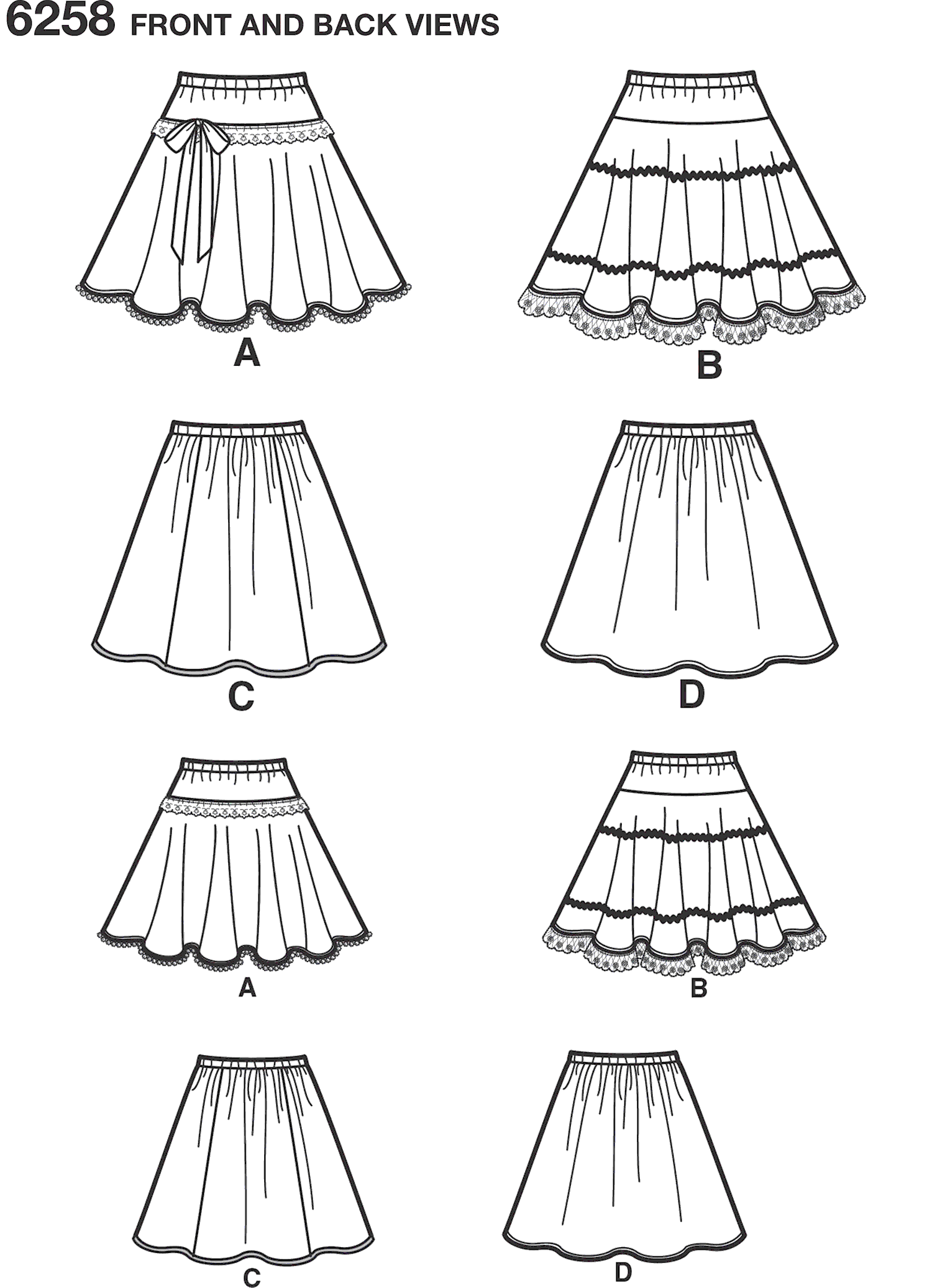 New Look Pattern 6258 Childs and Girls Circle Skirts Line Art From Patternsandplains.com
