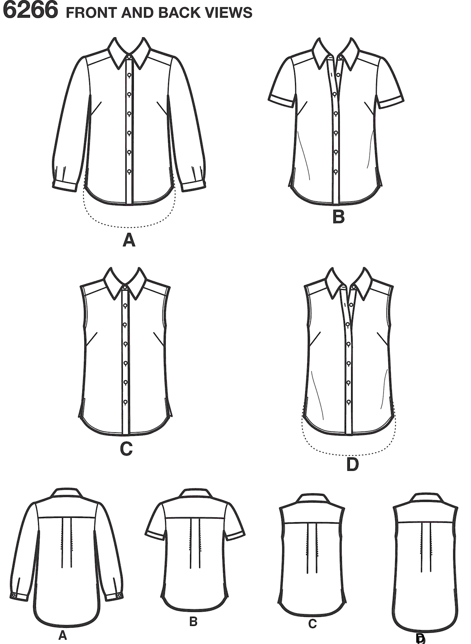 New Look Pattern 6266 Misses Button Front Shirts Line Art From Patternsandplains.com