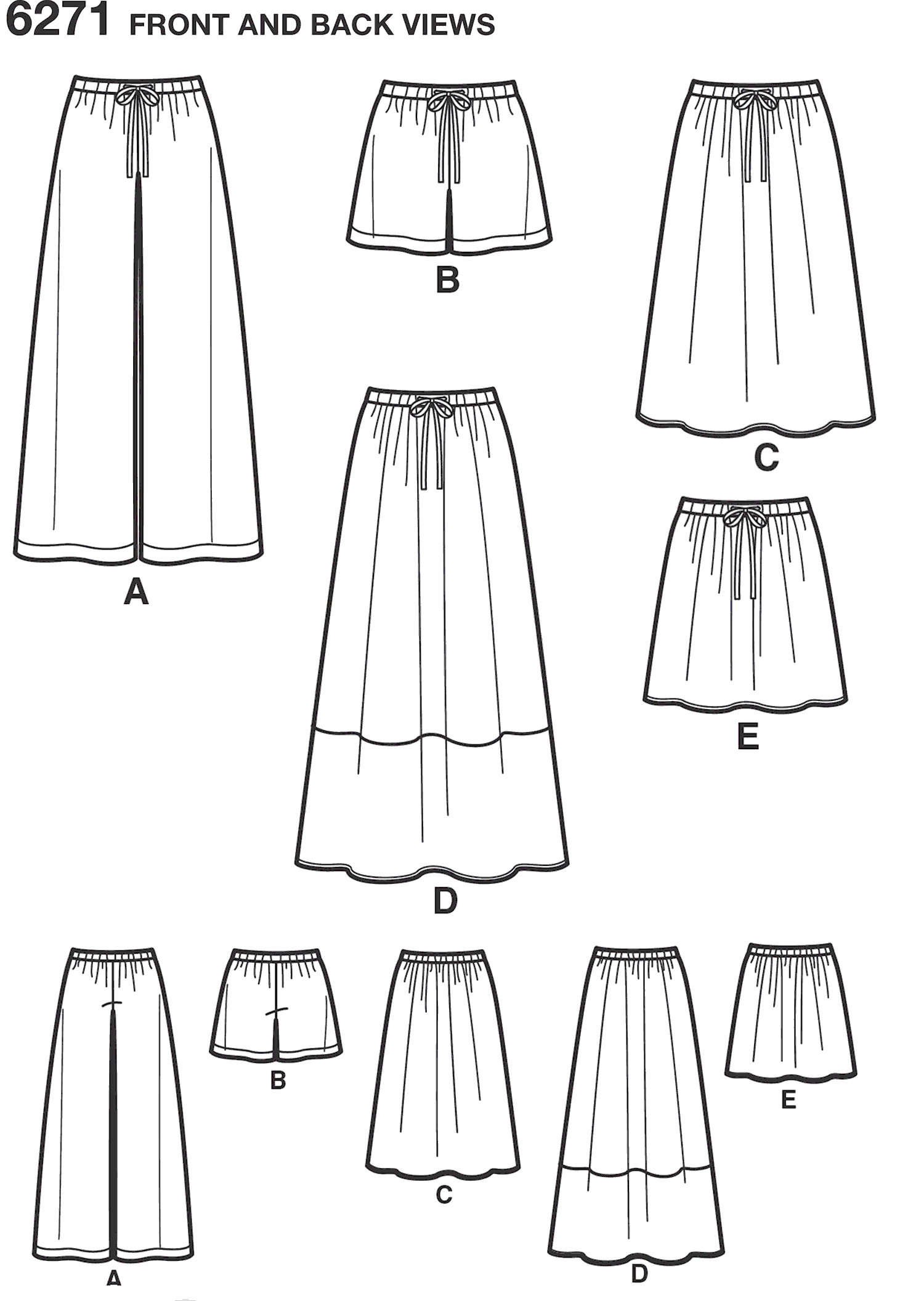 New Look Pattern 6271 Misses Skirt in Three Lengths and Pants or Shorts Line Art From Patternsandplains.com