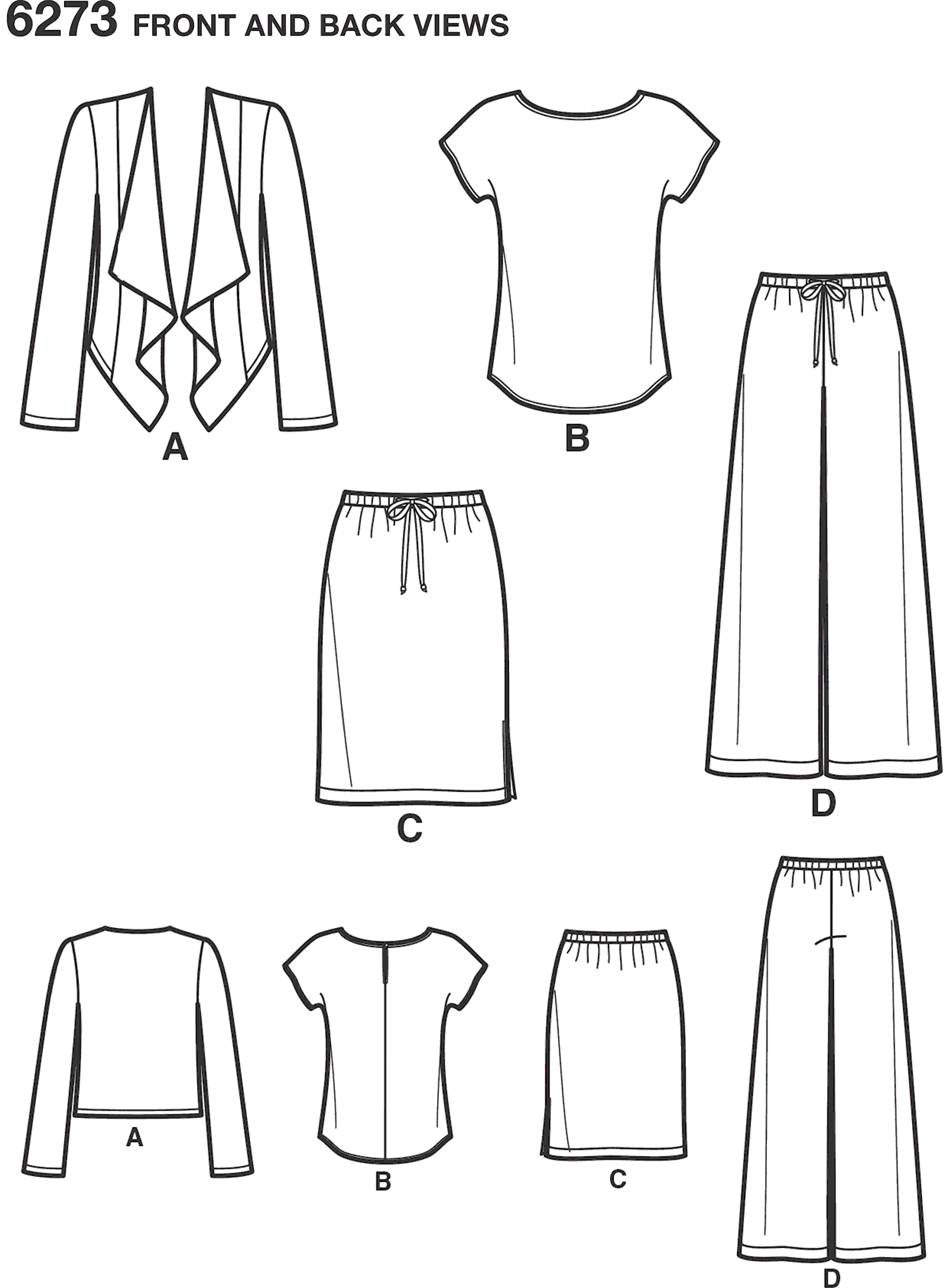 New Look Pattern 6273 Misses Jacket Top Pants and Skirt Line Art From Patternsandplains.com
