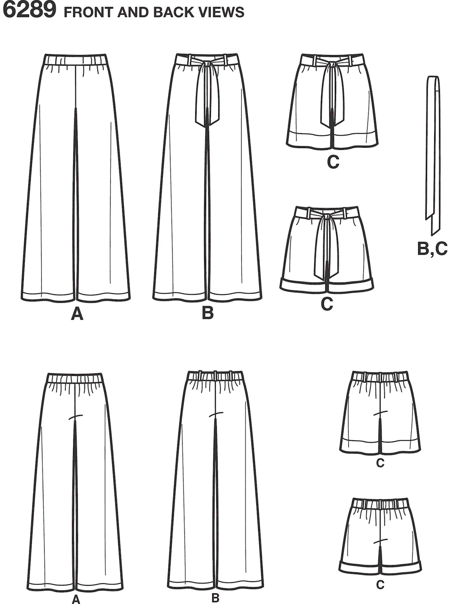 New Look Pattern 6289 Misses Pull on Pants or Shorts and Tie Belt Line Art From Patternsandplains.com