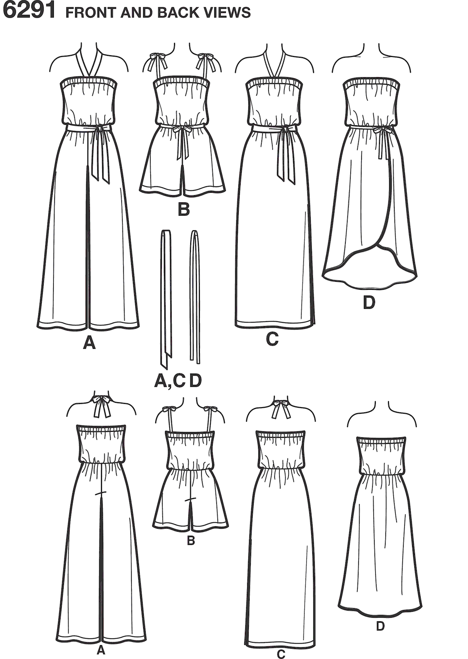 New Look Pattern 6291 Misses Jumpsuit and Dress Each in Two Lengths Line Art From Patternsandplains.com
