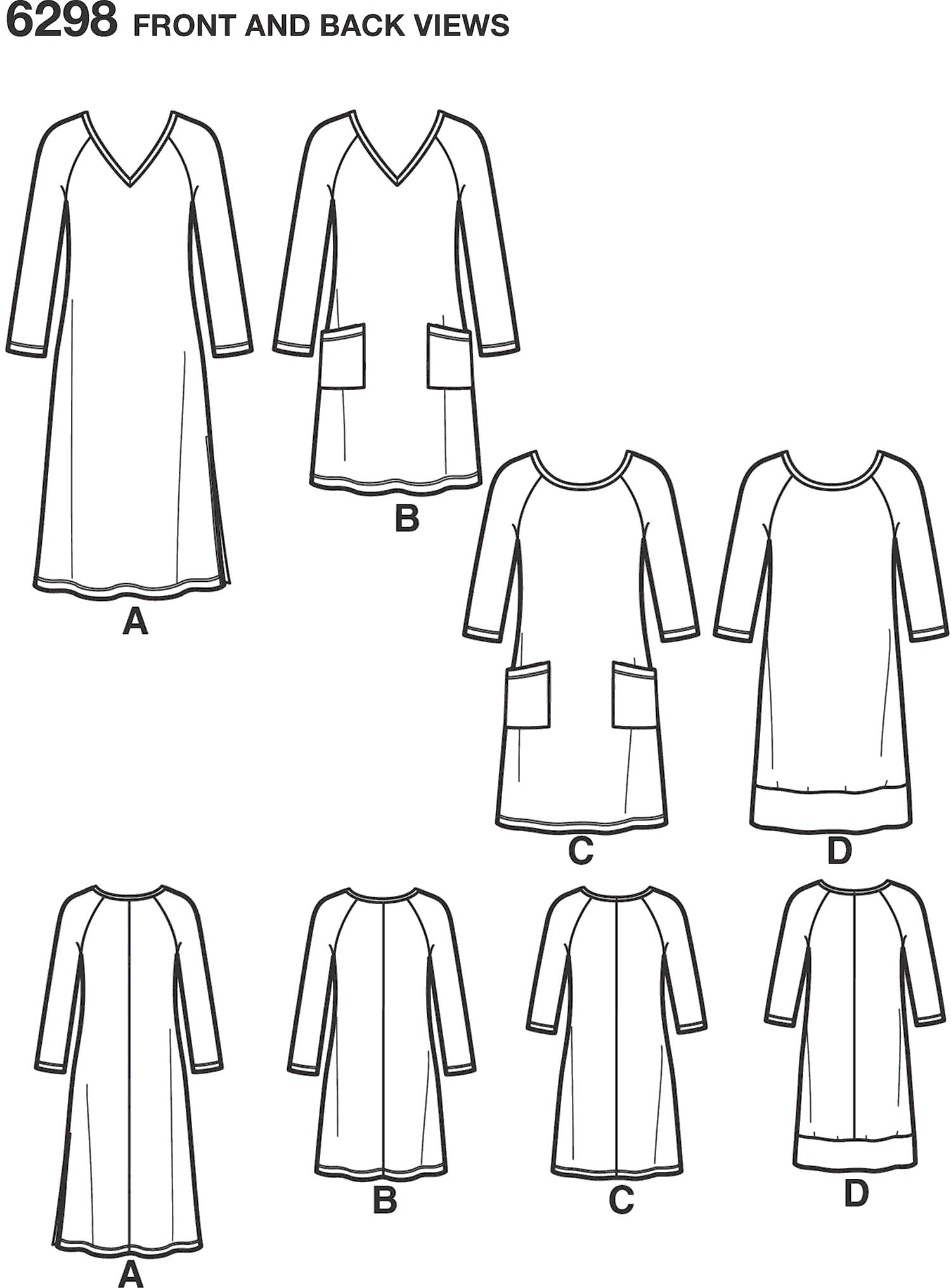 New Look Pattern 6298 Misses Knit Dress with Neckline and Length Variations Line Art From Patternsandplains.com