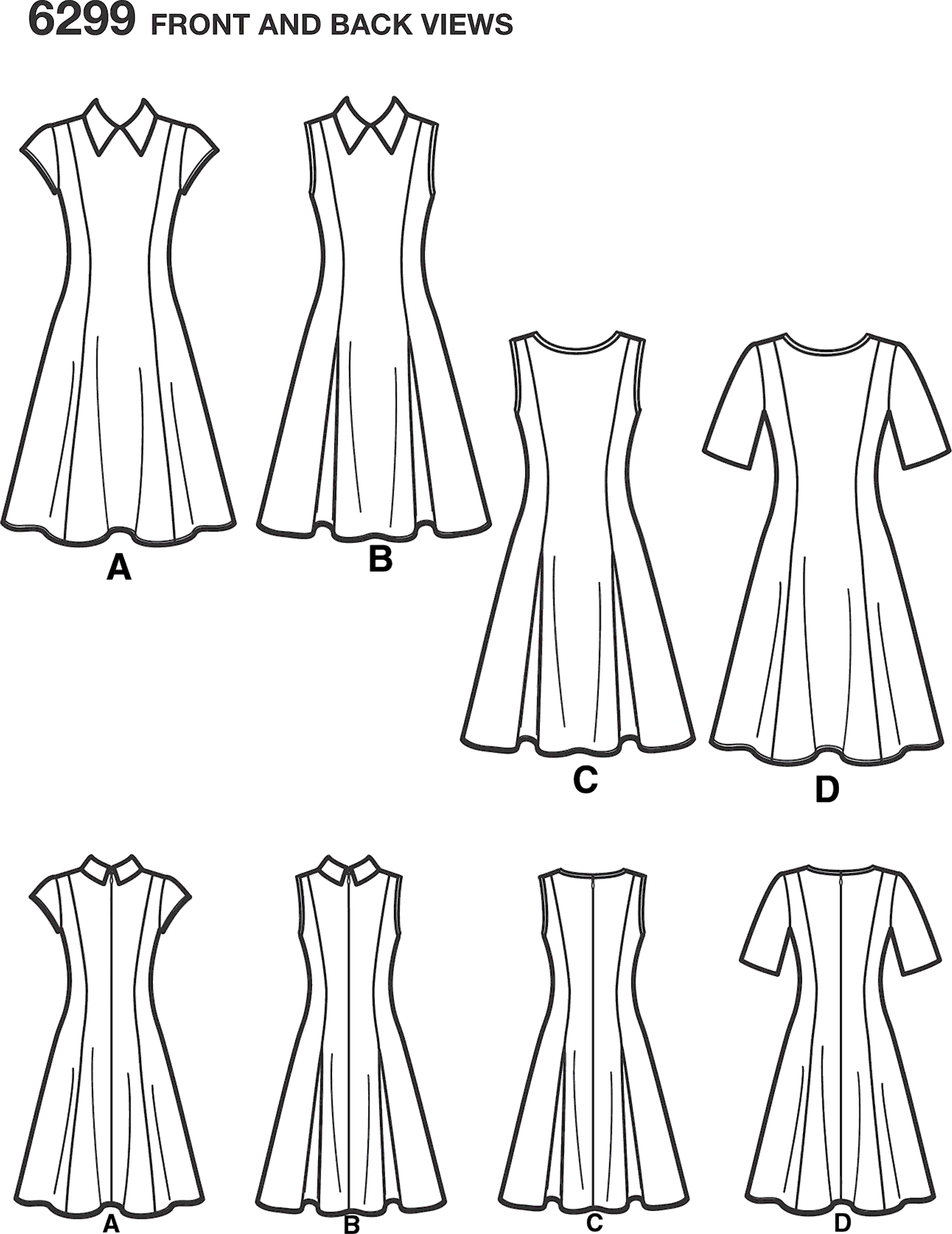 New Look Pattern 6299 Misses Dress with Neckline and Sleeve Variations Line Art From Patternsandplains.com