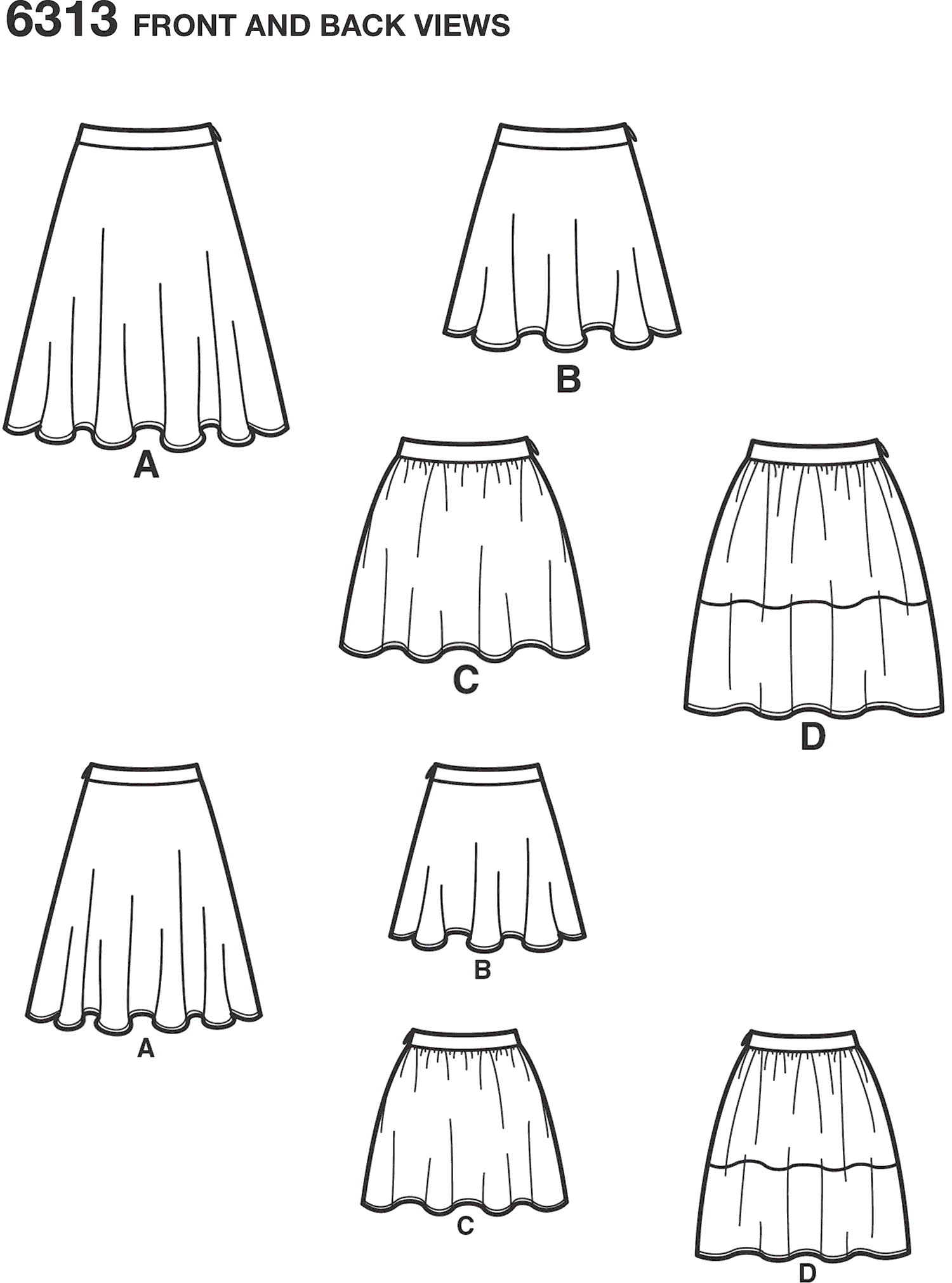 New Look Pattern 6313 Misses Skirts with Length Variations Line Art From Patternsandplains.com