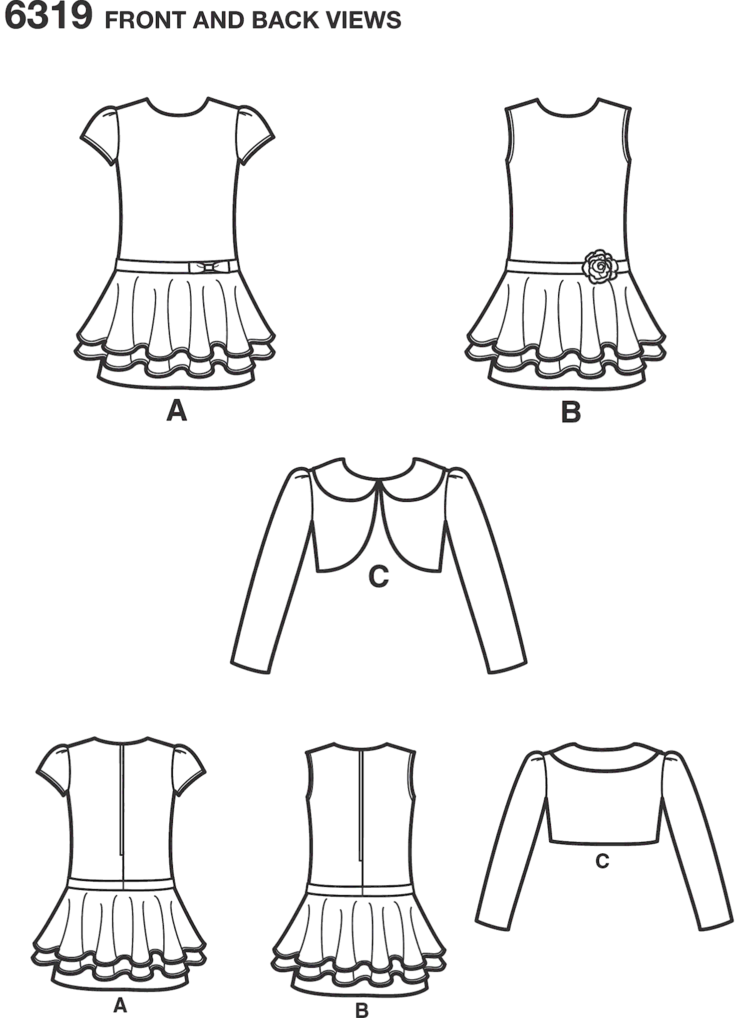 New Look Pattern 6319 Childs Jacket and Bias Dress Line Art From Patternsandplains.com
