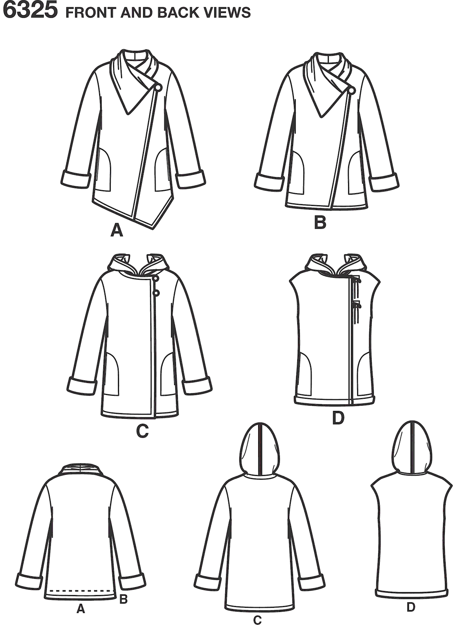 New Look Pattern 6325 Misses Easy Coat with Length and Front Variations and Vest Line Art From Patternsandplains.com