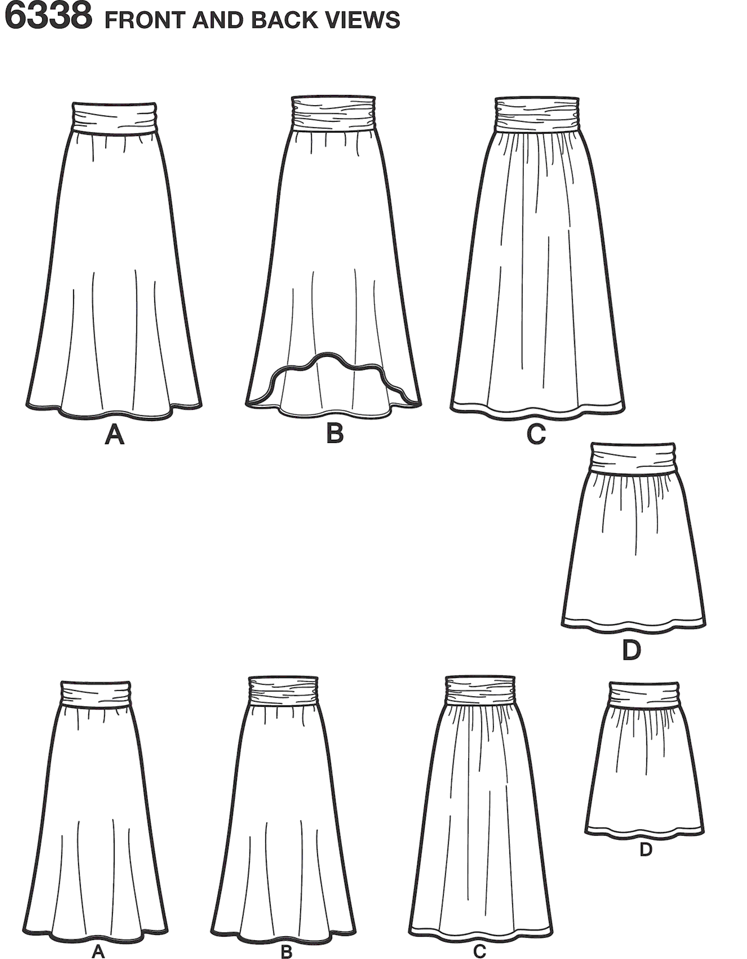 New Look Pattern 6338 Girls Easy Skirts and Knit Skirts Line Art From Patternsandplains.com