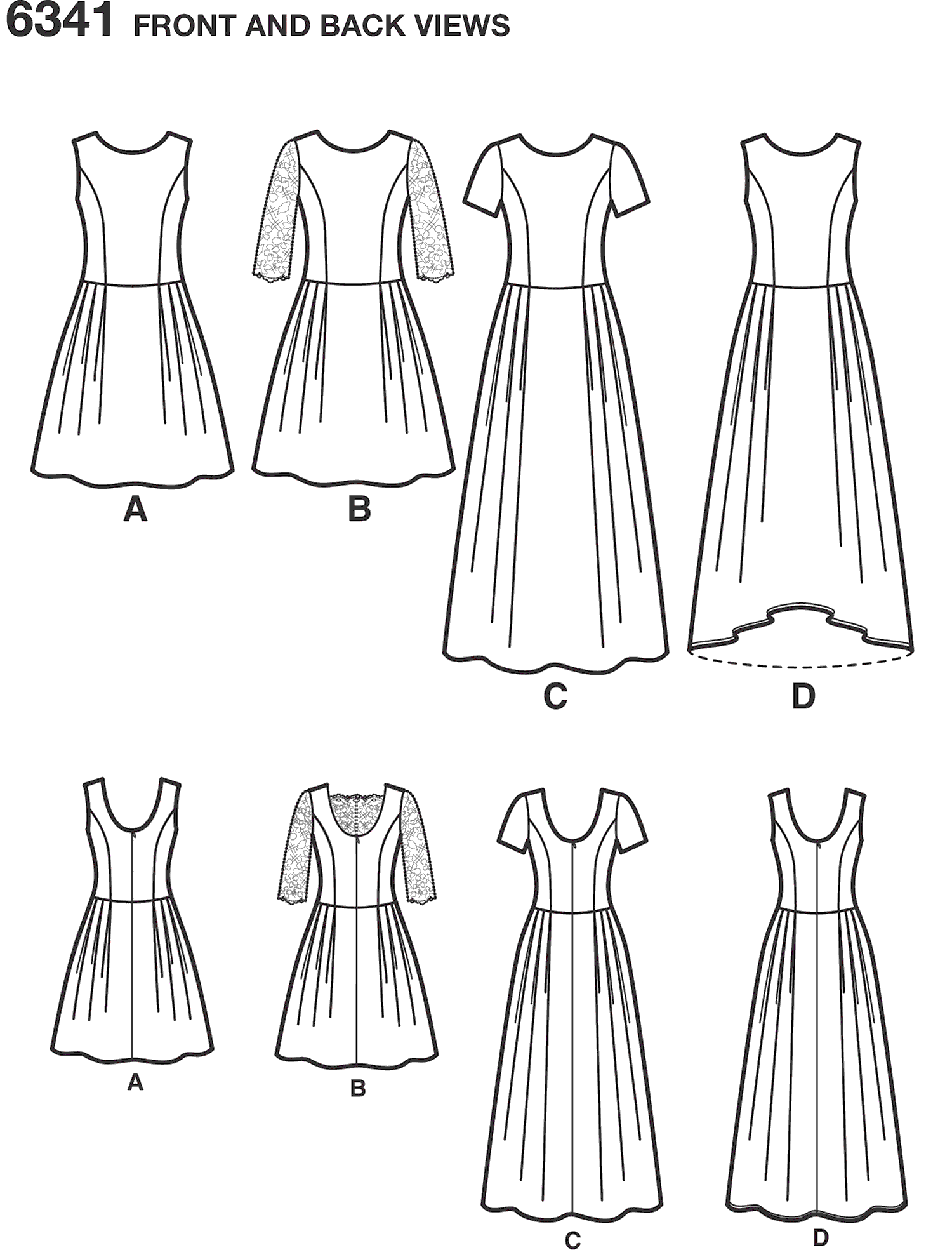 New Look Pattern 6341 Misses Dress in Three Lengths Line Art From Patternsandplains.com