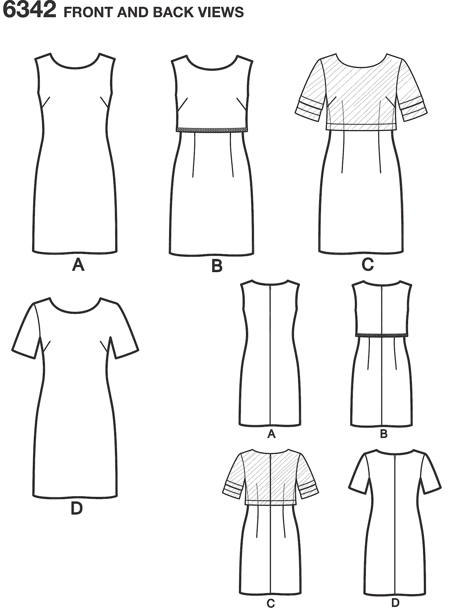 New Look Pattern 6342 Misses Dress with or without Overbodice Line Art From Patternsandplains.com