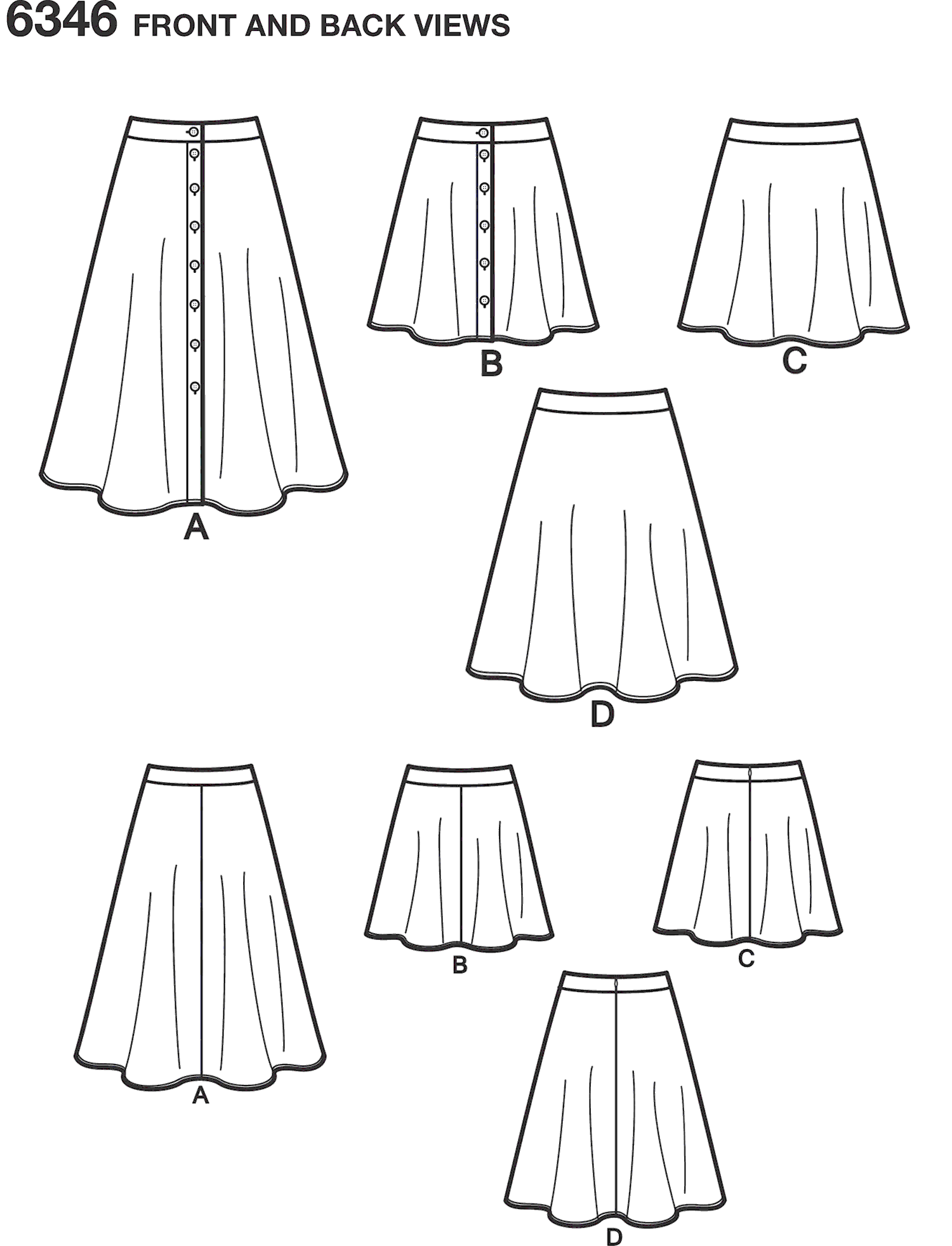 New Look Pattern 6346 Misses Easy Skirts in Three Lengths Line Art From Patternsandplains.com