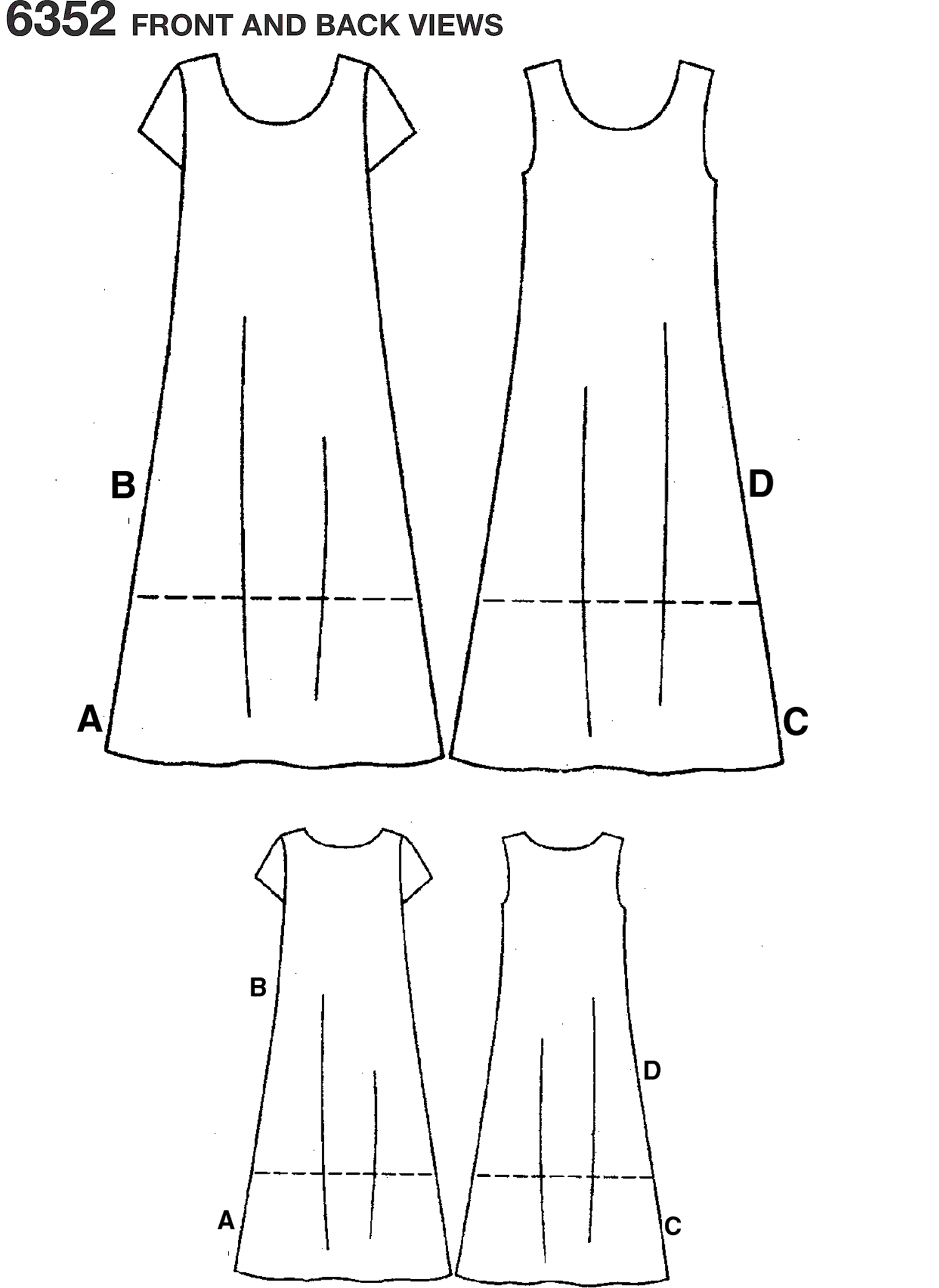 New Look Pattern 6352 Misses Dresses Line Art From Patternsandplains.com