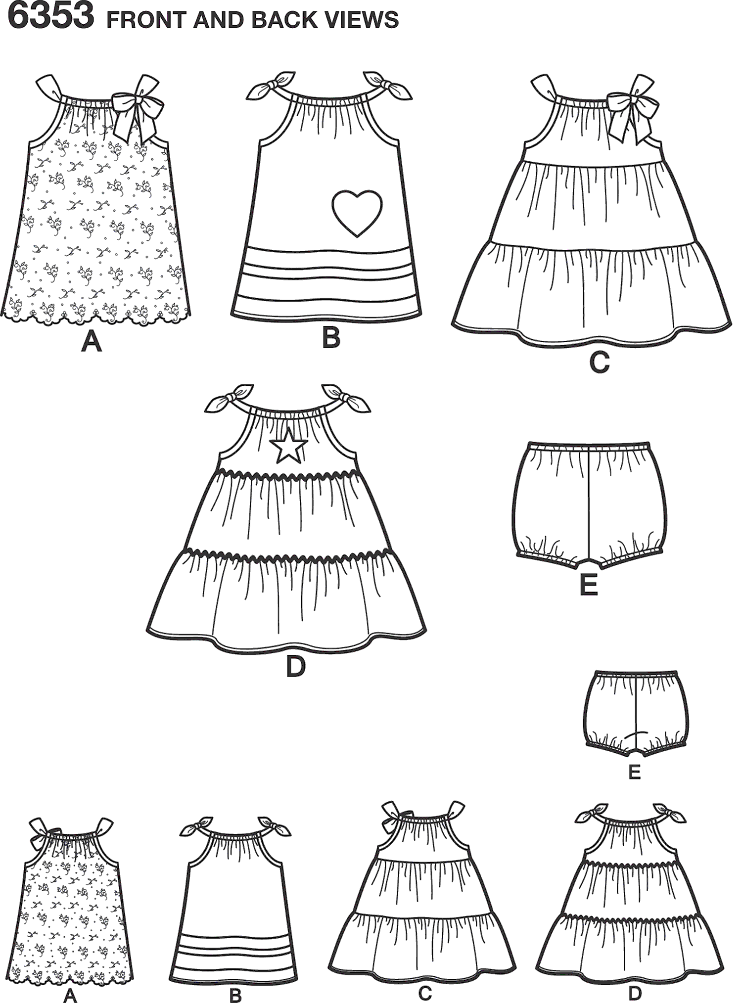 New Look Pattern 6353 Babies Dresses and Panties Line Art From Patternsandplains.com
