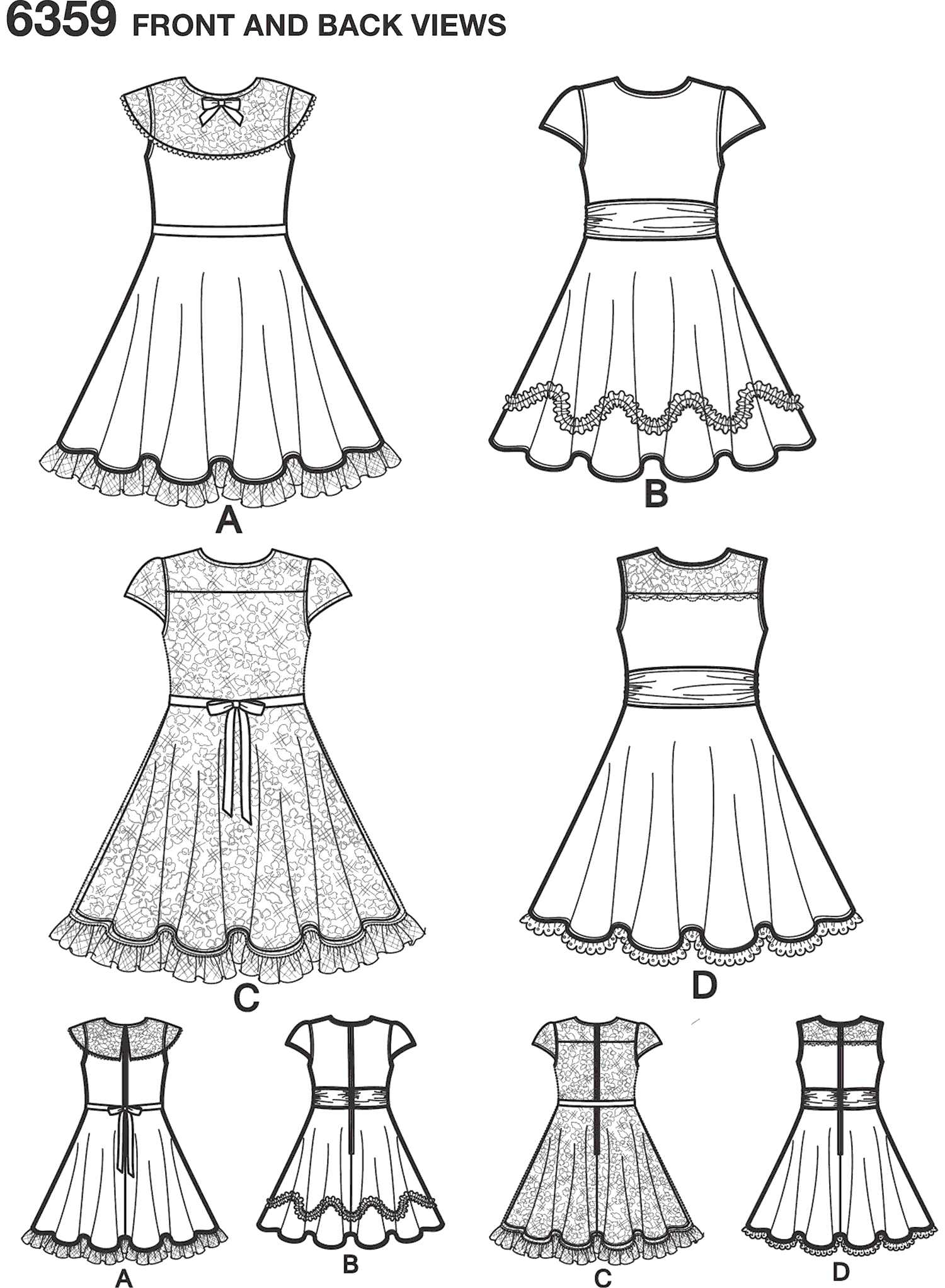 New Look Pattern 6359 Childs Dresses with Lace and Trim Details Line Art From Patternsandplains.com