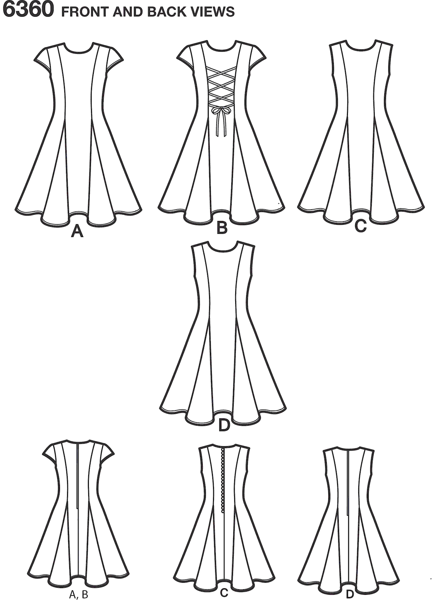 New Look Pattern 6360 Girls Sized for Tweens Dress Line Art From Patternsandplains.com