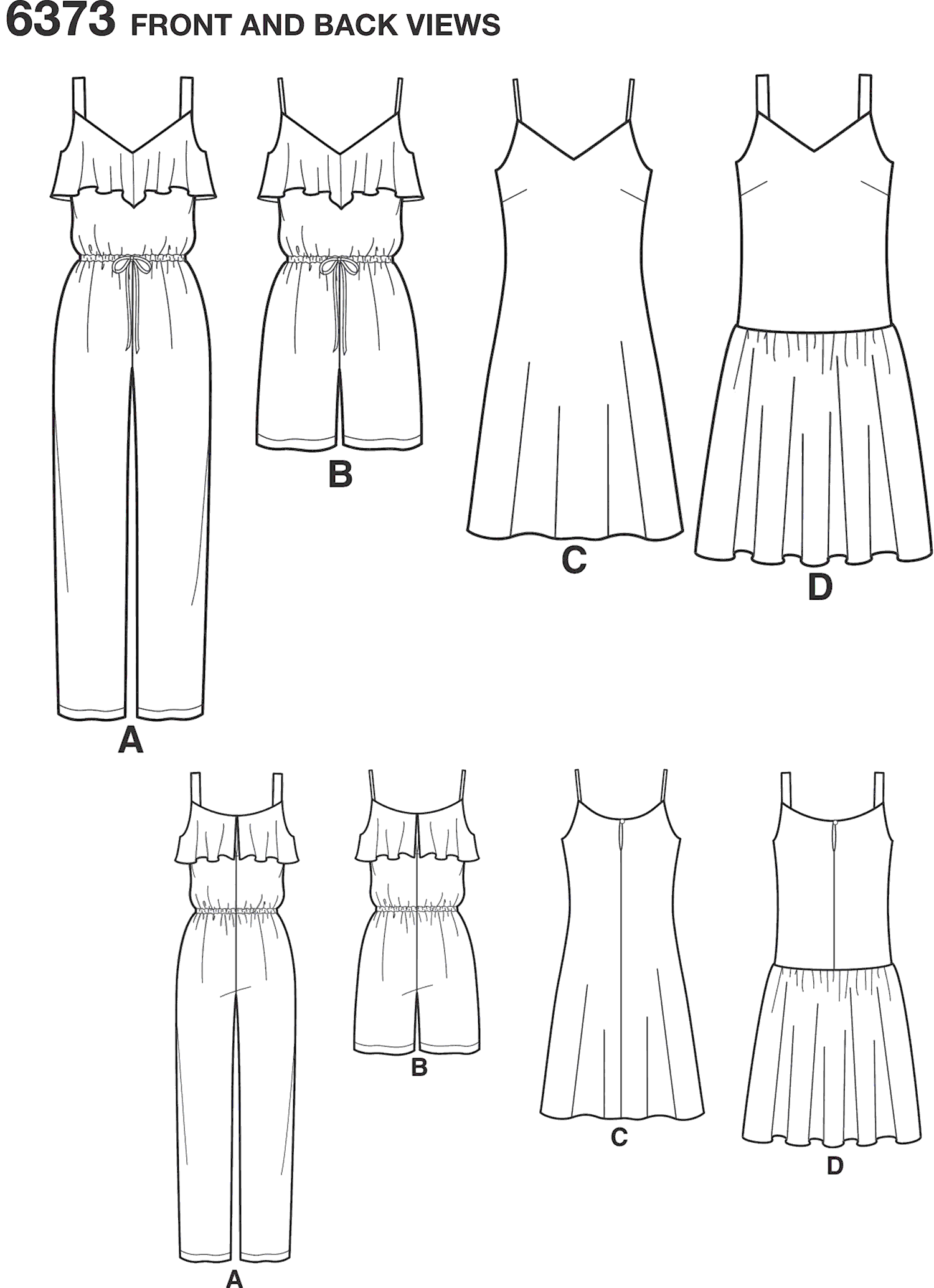 New Look Pattern 6373 Misses Jumpsuit or Romper and Dresses Line Art From Patternsandplains.com