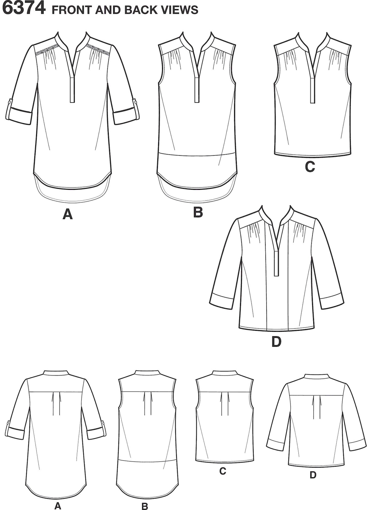New Look Pattern 6374 Misses Shirts with Sleeve and Length Options Line Art From Patternsandplains.com