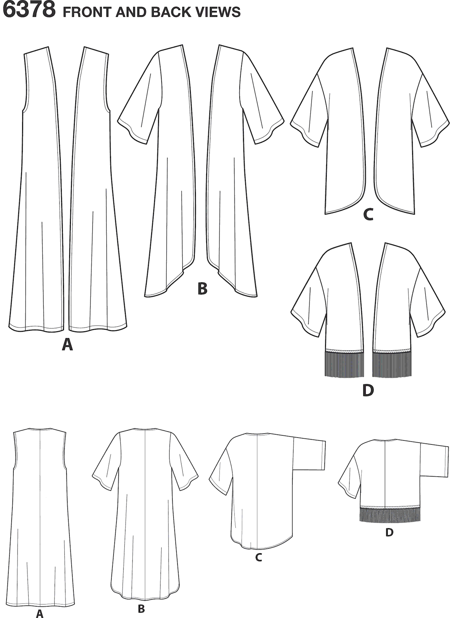 New Look Pattern 6378 Misses Easy Kimonos with Length Variations Line Art From Patternsandplains.com