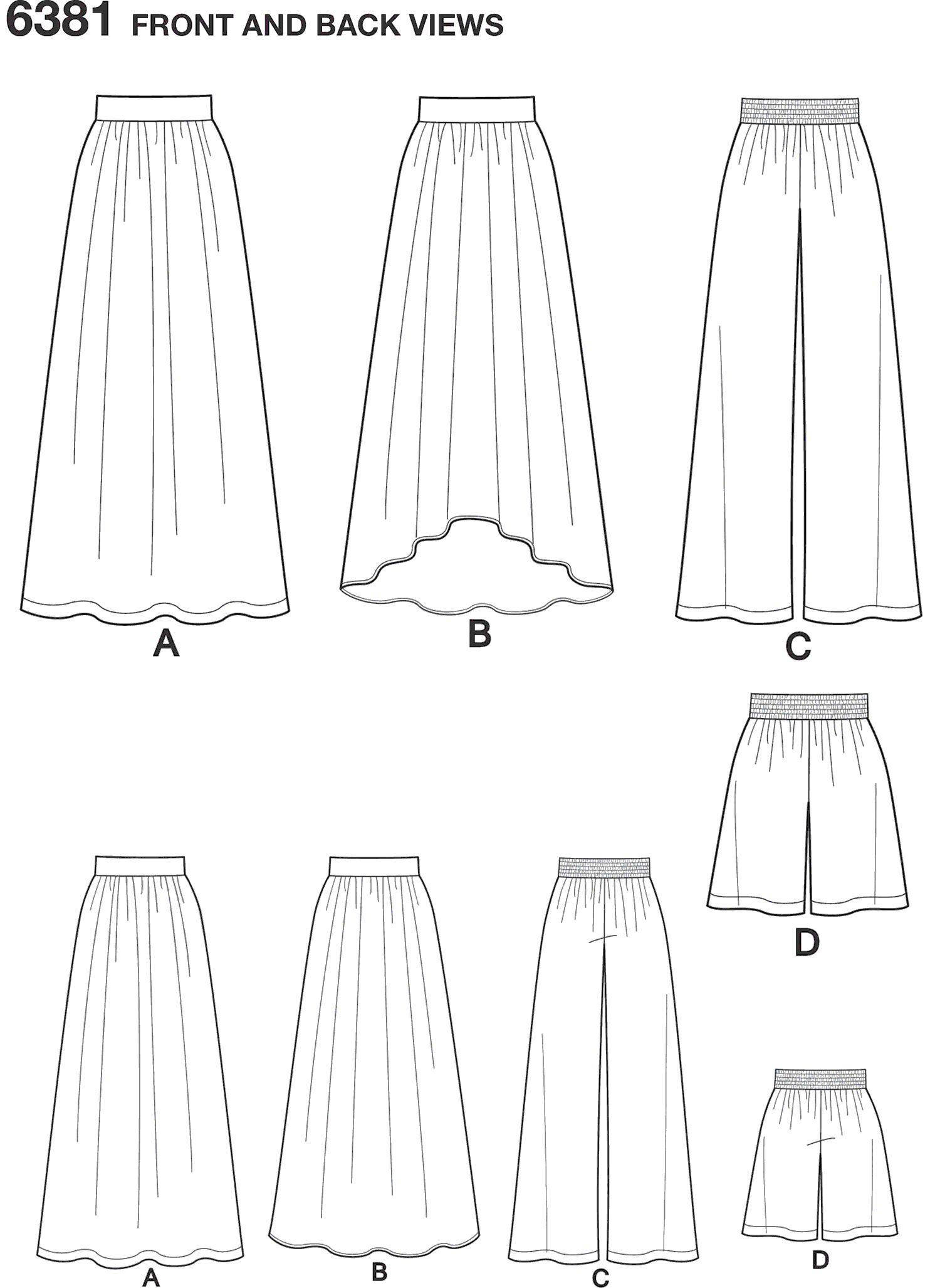 New Look Pattern 6381 Misses Knit Skirts and Pants or Shorts Line Art From Patternsandplains.com