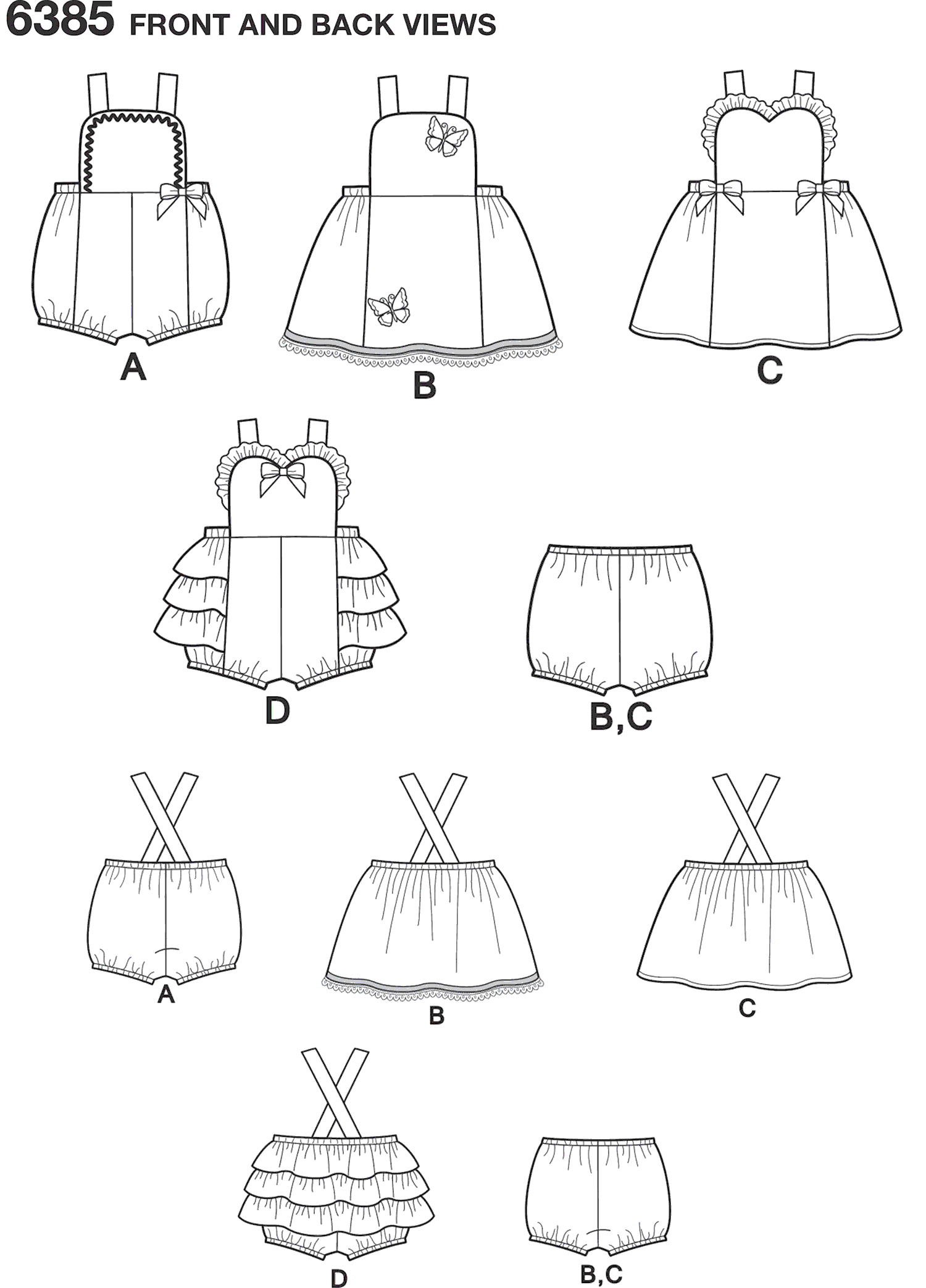 New Look Pattern 6385 Babies Dress Romper and Panties Line Art From Patternsandplains.com