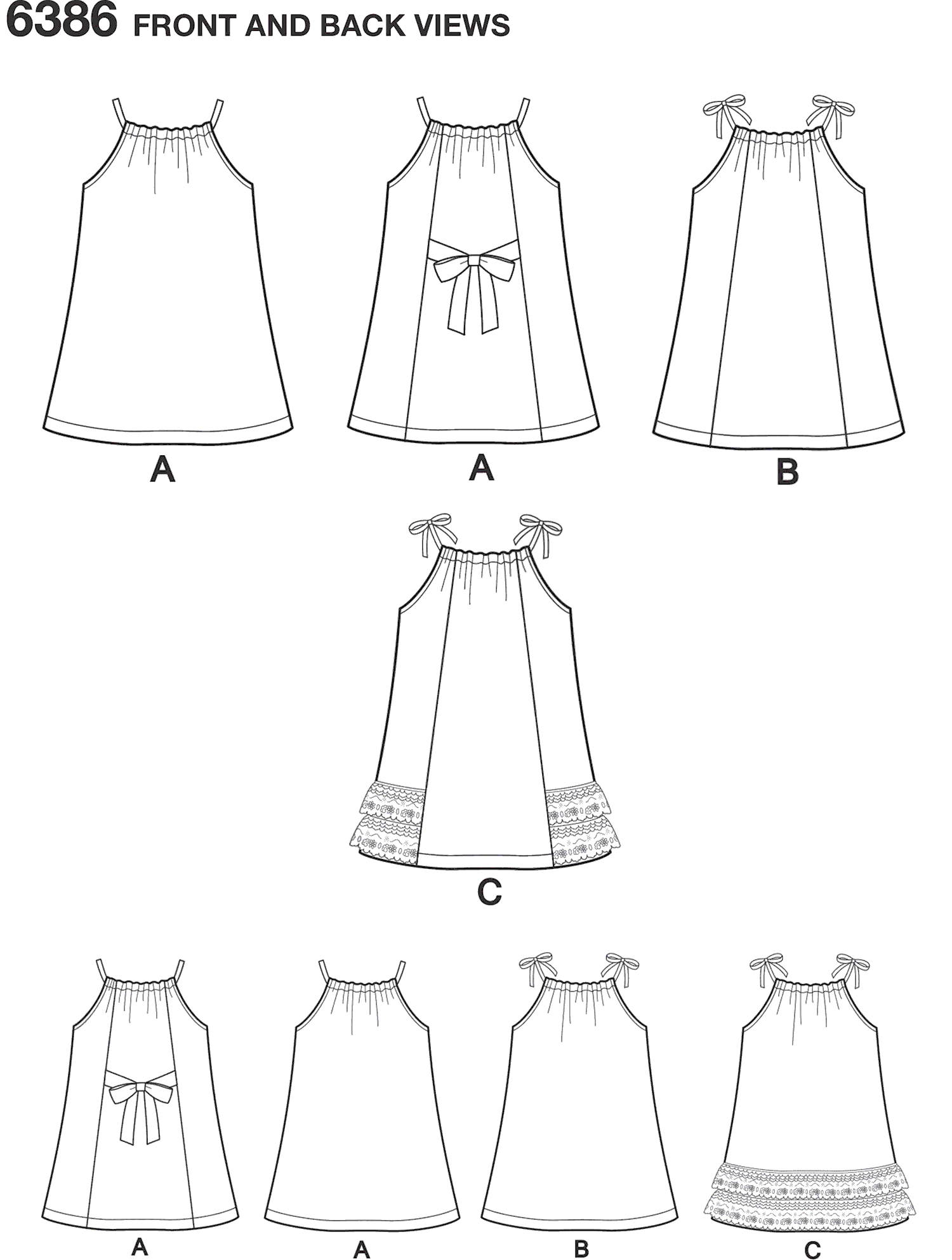 New Look Pattern 6386 Toddlers Easy Pillowcase Dresses Line Art From Patternsandplains.com