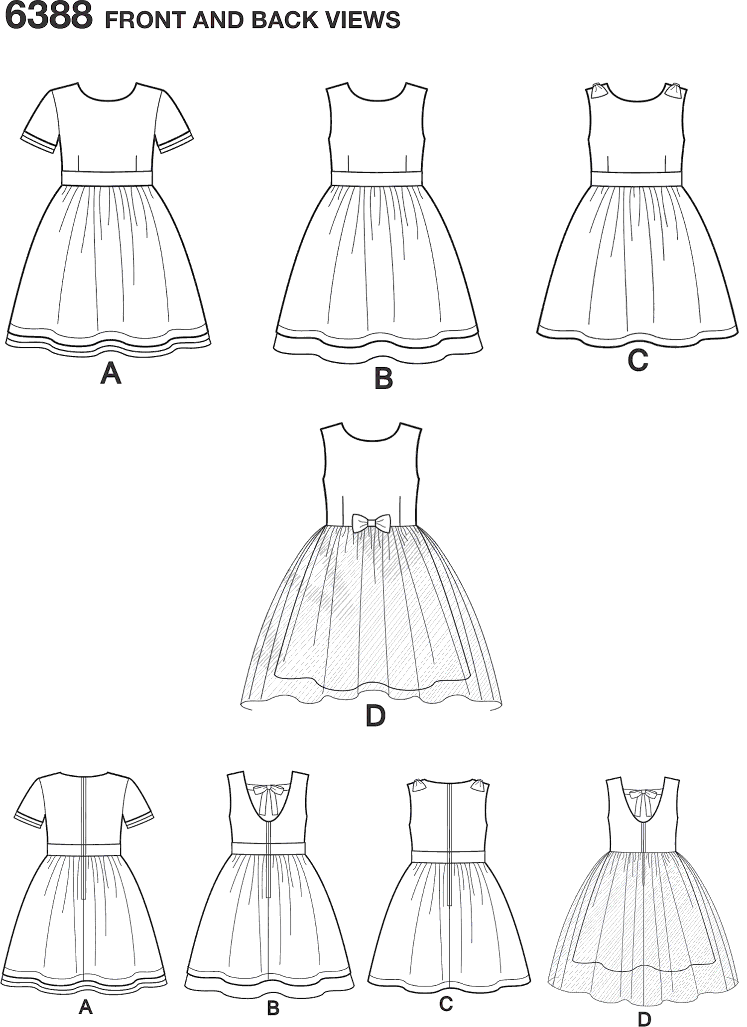 New Look Pattern 6388 Girls Party Dresses Line Art From Patternsandplains.com