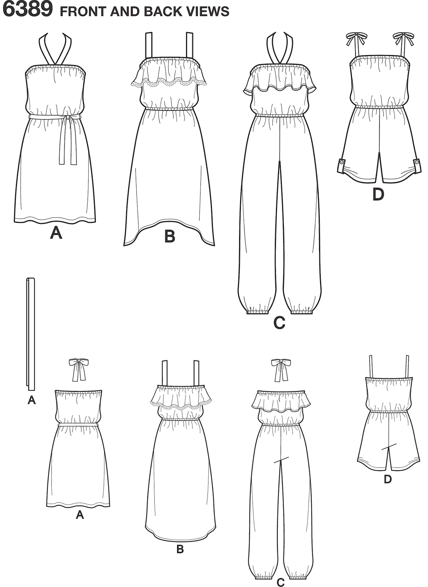 New Look Pattern 6389 Girls Easy Jumpsuit Romper and Dresses Line Art From Patternsandplains.com