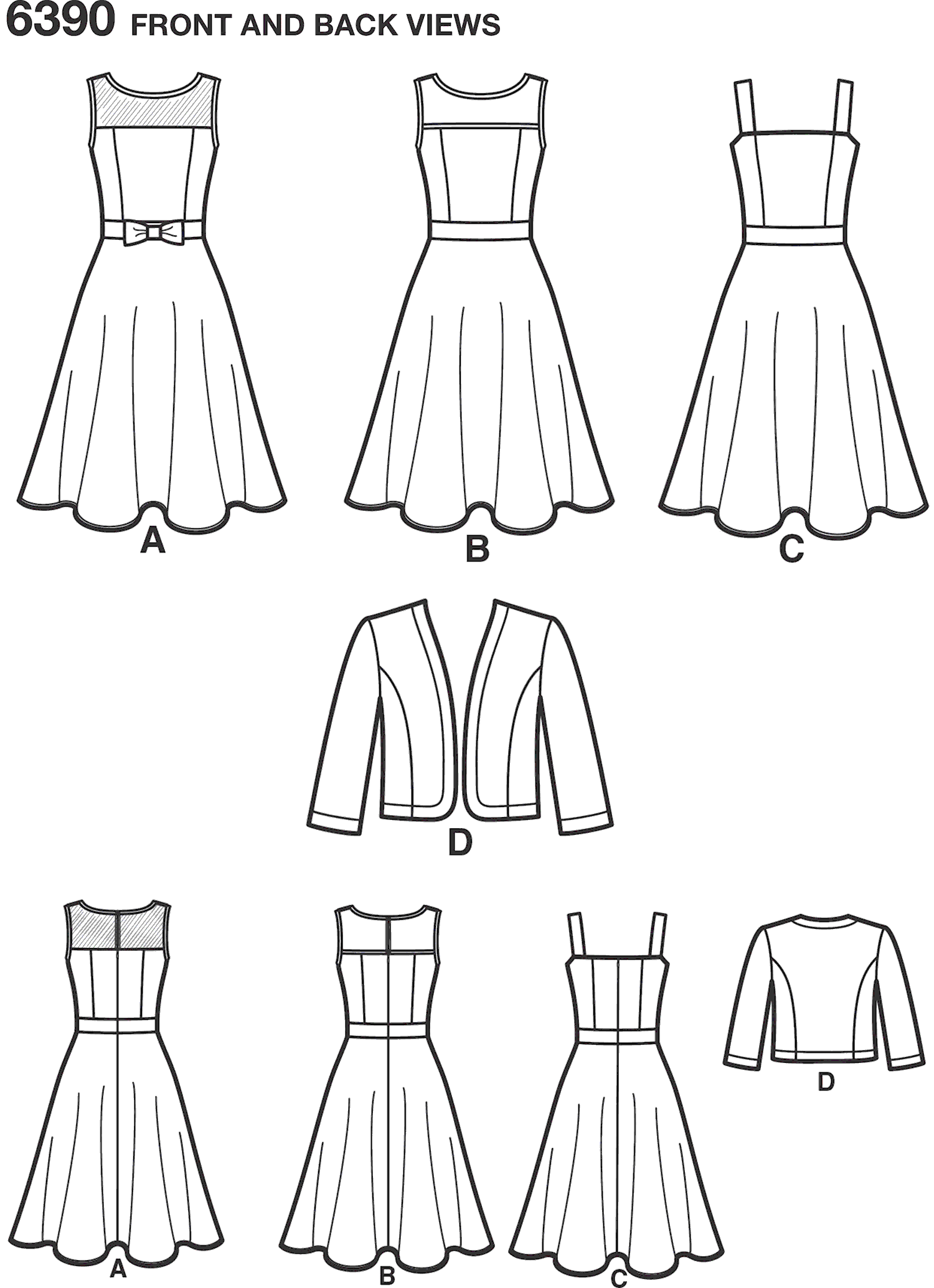 New Look Pattern 6390 Misses Dresses with Full Skirt and Bolero Line Art From Patternsandplains.com