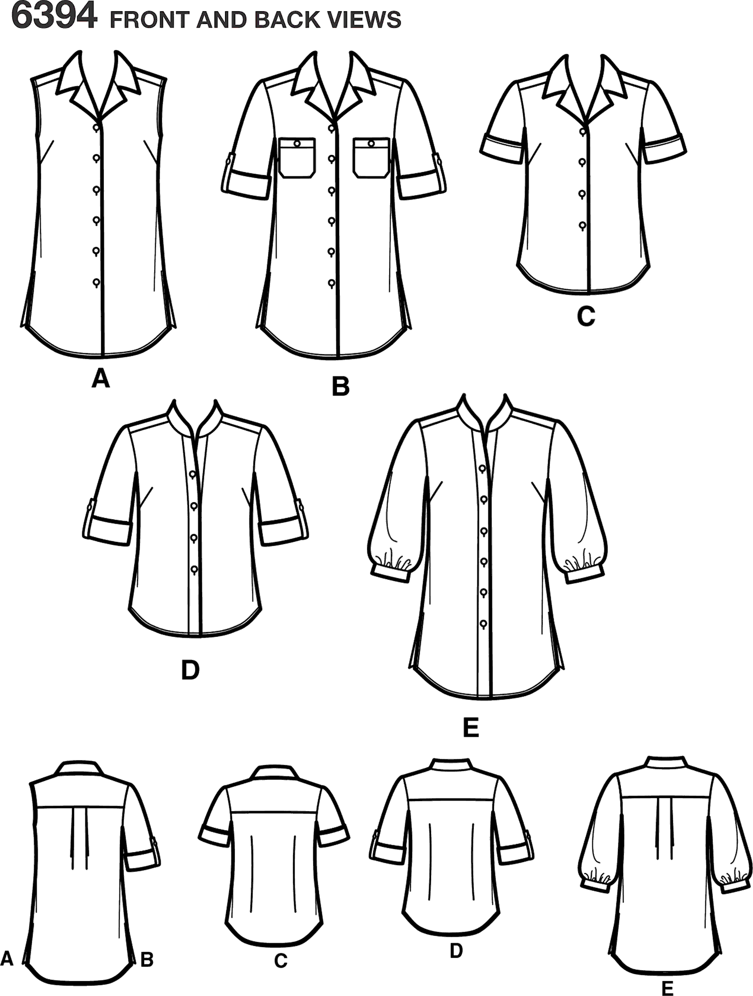 New Look Pattern 6394 Misses Button Front Tops Line Art From Patternsandplains.com