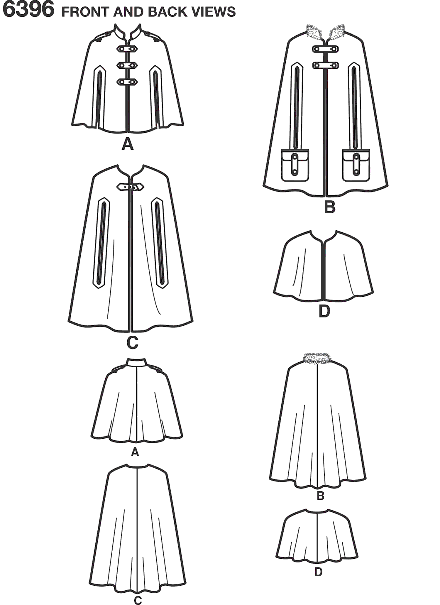 New Look Pattern 6396 Misses Capes and Capelets Line Art From Patternsandplains.com