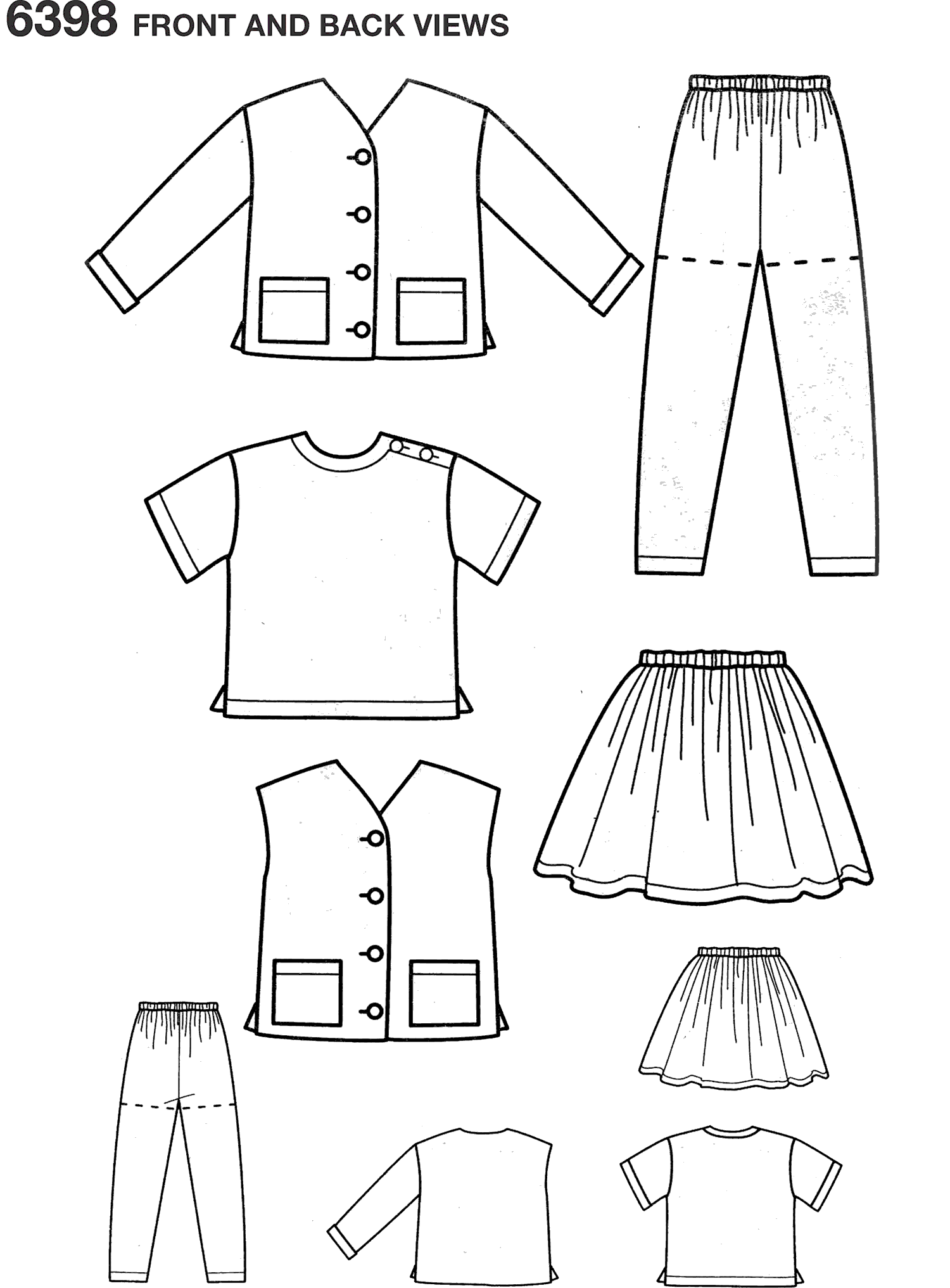 New Look Pattern 6398 Child Separates Line Art From Patternsandplains.com