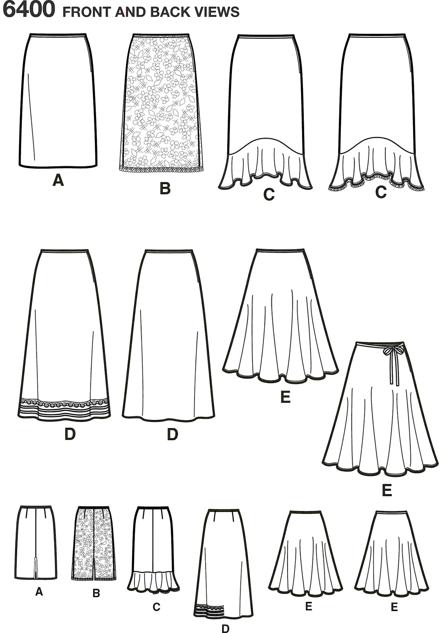 New Look Pattern 6400 Misses Skirts in Various Styles Line Art From Patternsandplains.com
