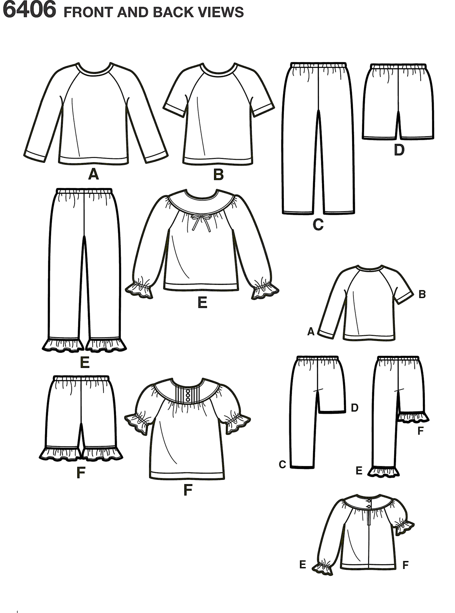 New Look Pattern 6406 Childrens Separates Line Art From Patternsandplains.com