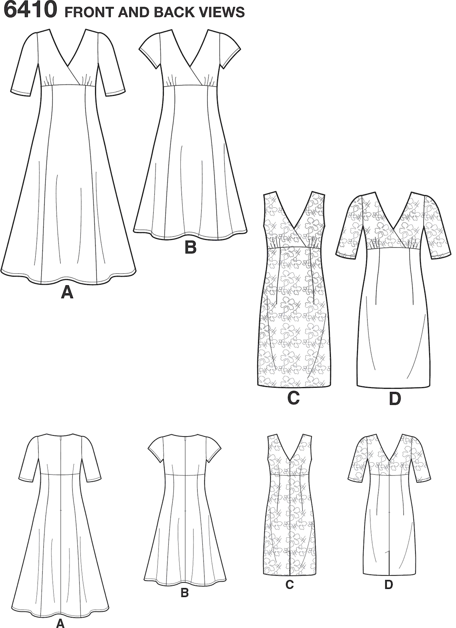 New Look Pattern 6410 Misses Dress with Skirt and Fabric Variations Line Art From Patternsandplains.com
