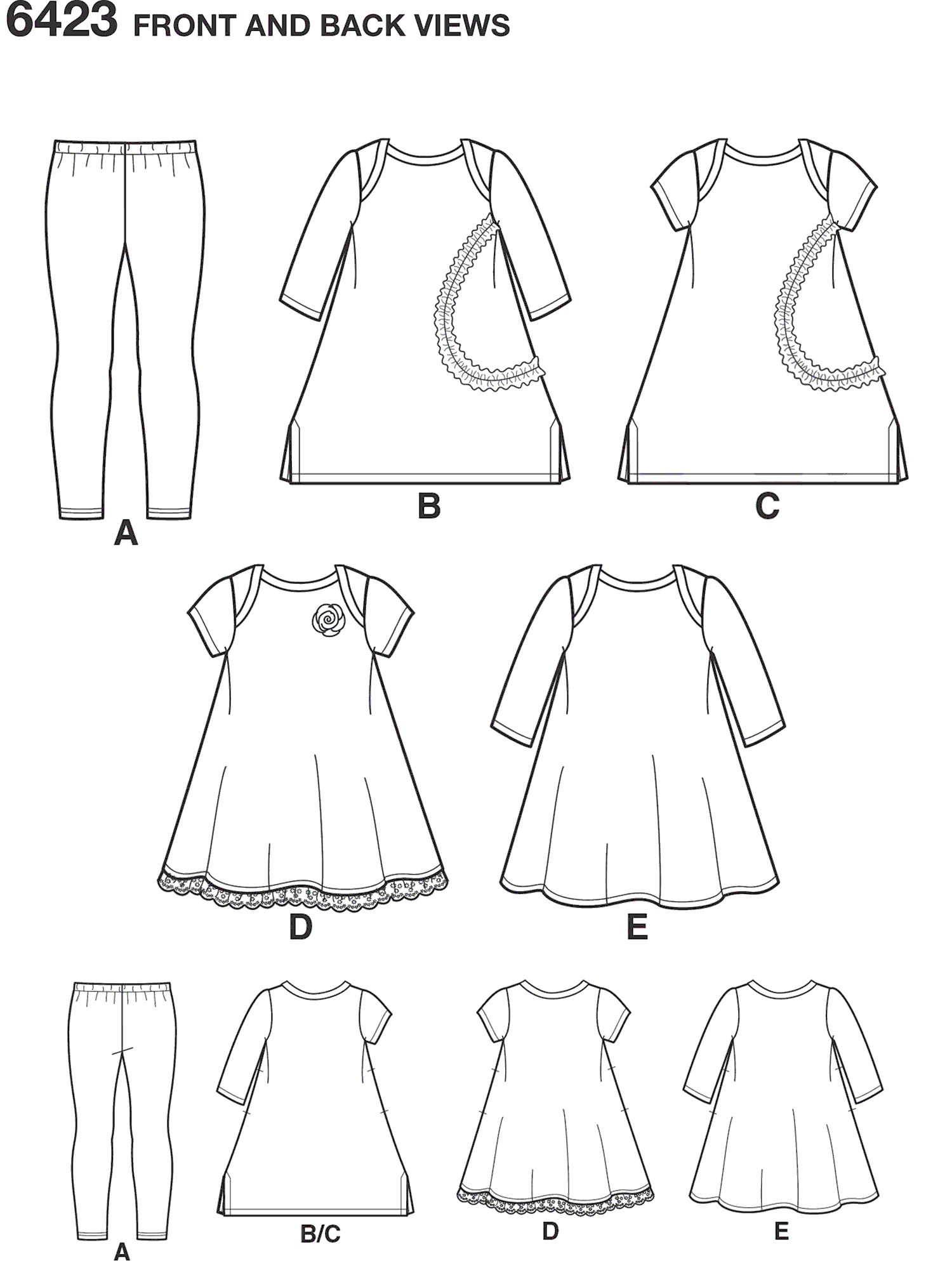New Look Pattern 6423 Toddlers Knit Dresses and Leggings Line Art From Patternsandplains.com