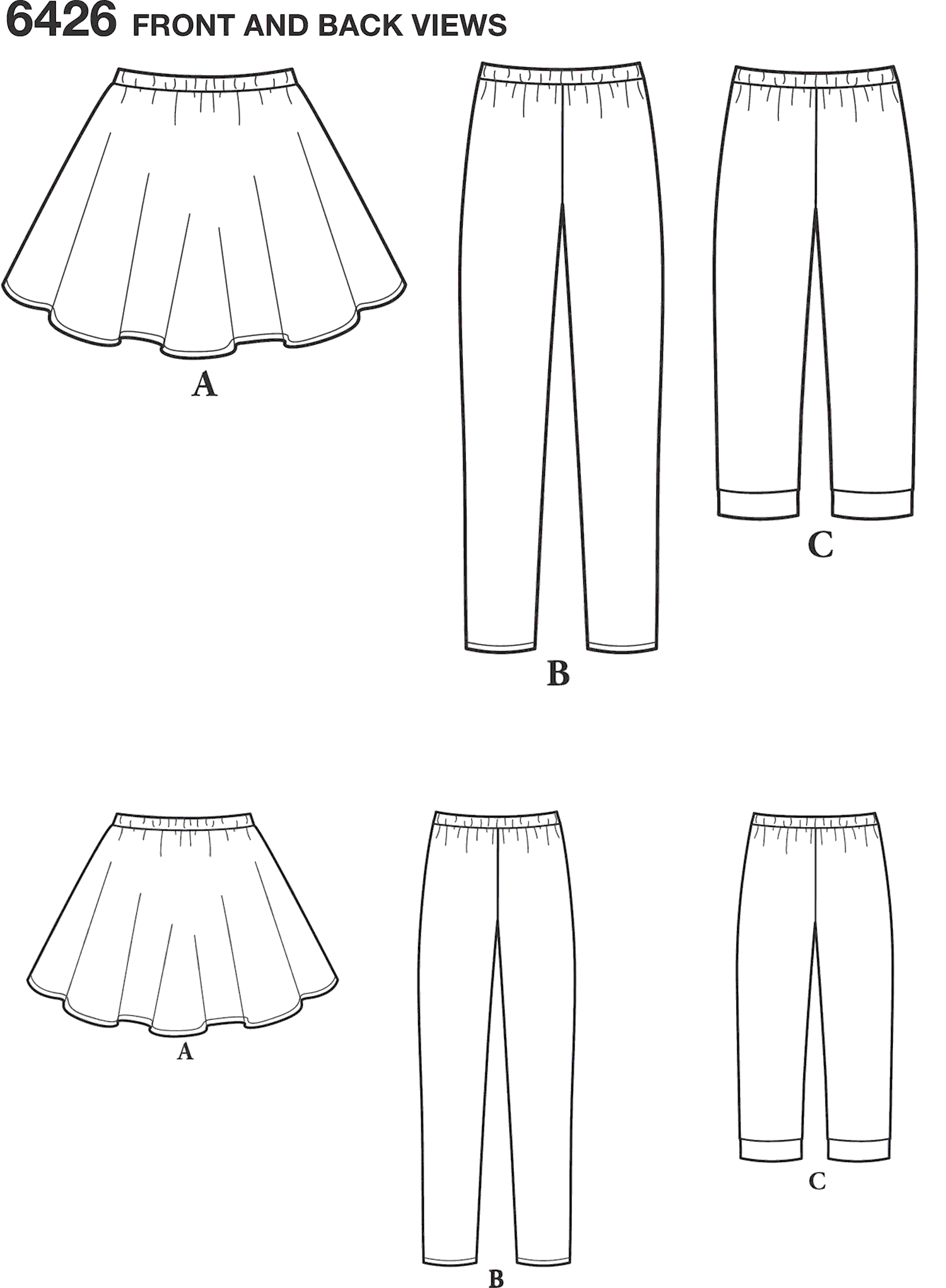New Look Pattern 6426 Girls Pants in Two Lengths and Skirt Line Art From Patternsandplains.com