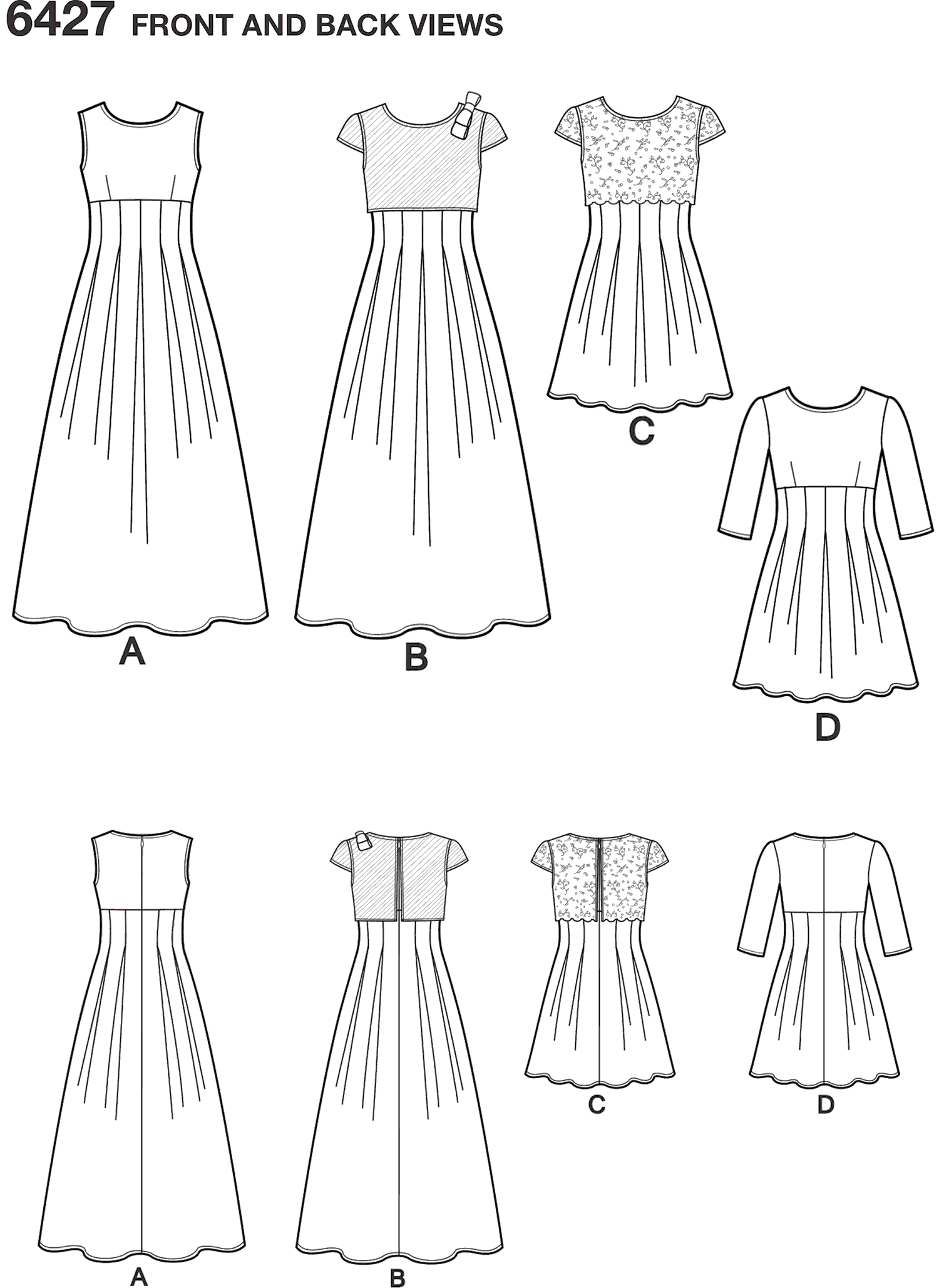 New Look Pattern 6427 Girls Dress in Two Lengths Line Art From Patternsandplains.com