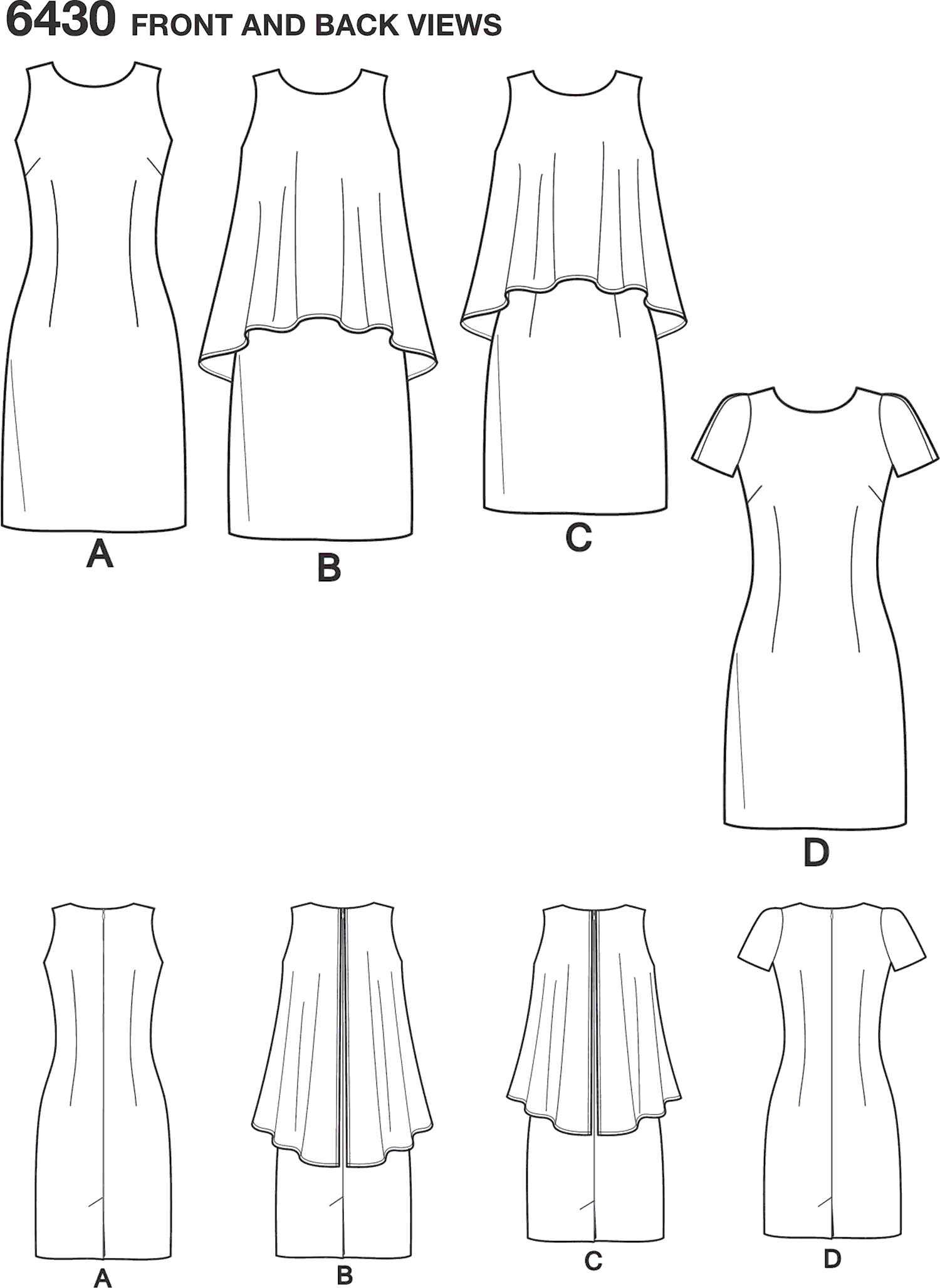 New Look Pattern 6430 Misses Dress in Two Lengths Line Art From Patternsandplains.com